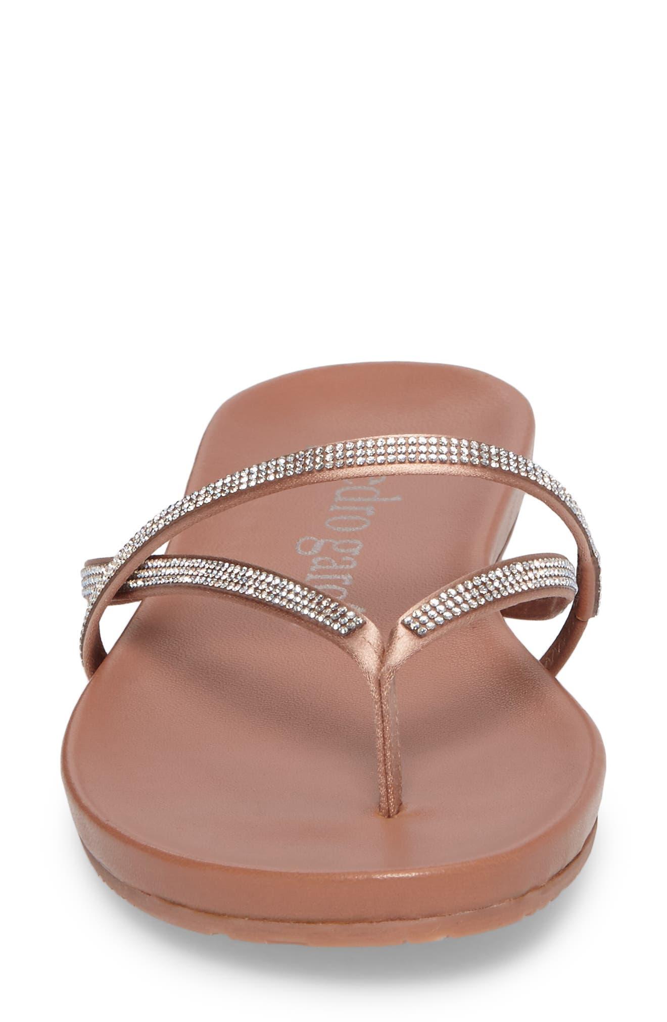 Giulia Crystal Embellished Sandal,                             Alternate thumbnail 4, color,                             Bisque Satin