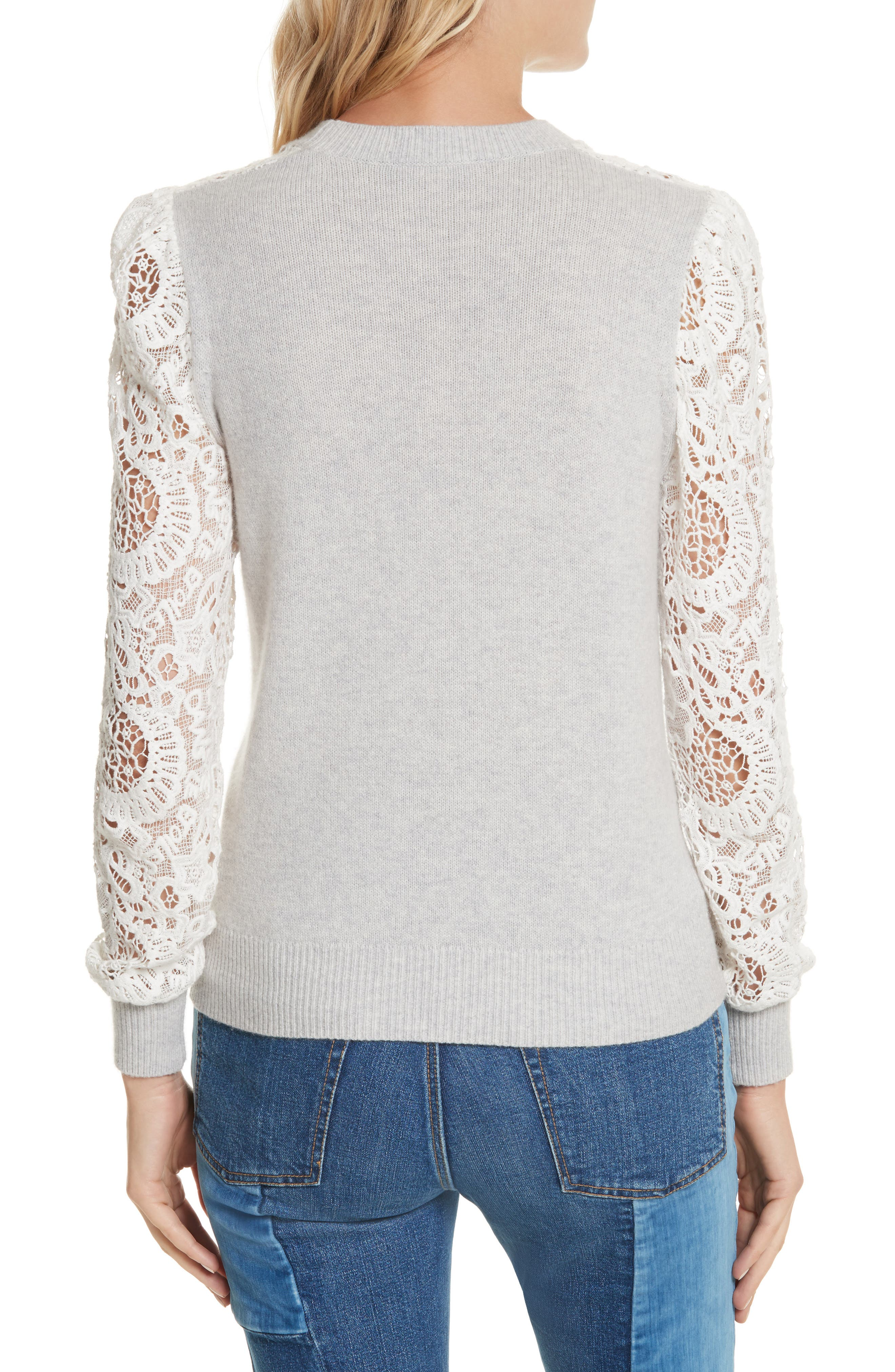 Alternate Image 2  - Rebecca Taylor Lace Trim Knit Pullover