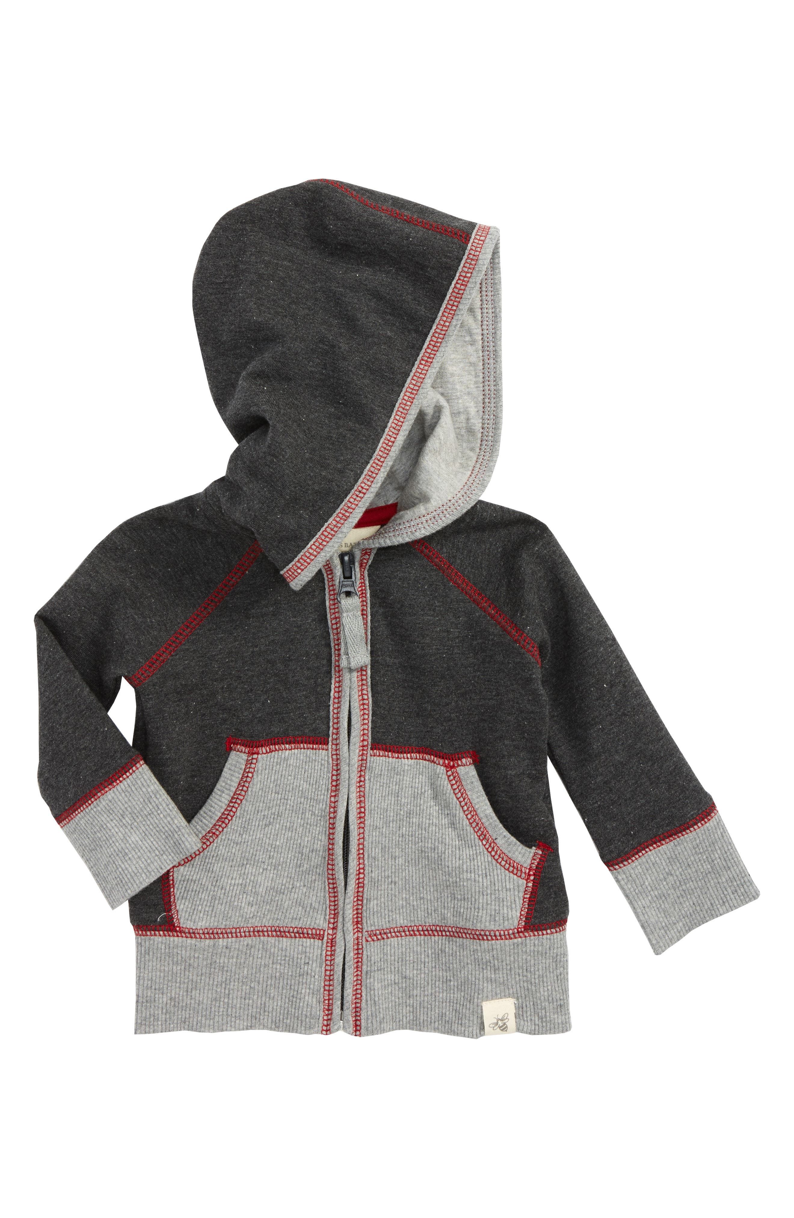 French Terry Organic Cotton Hoodie,                         Main,                         color, Coal Heather