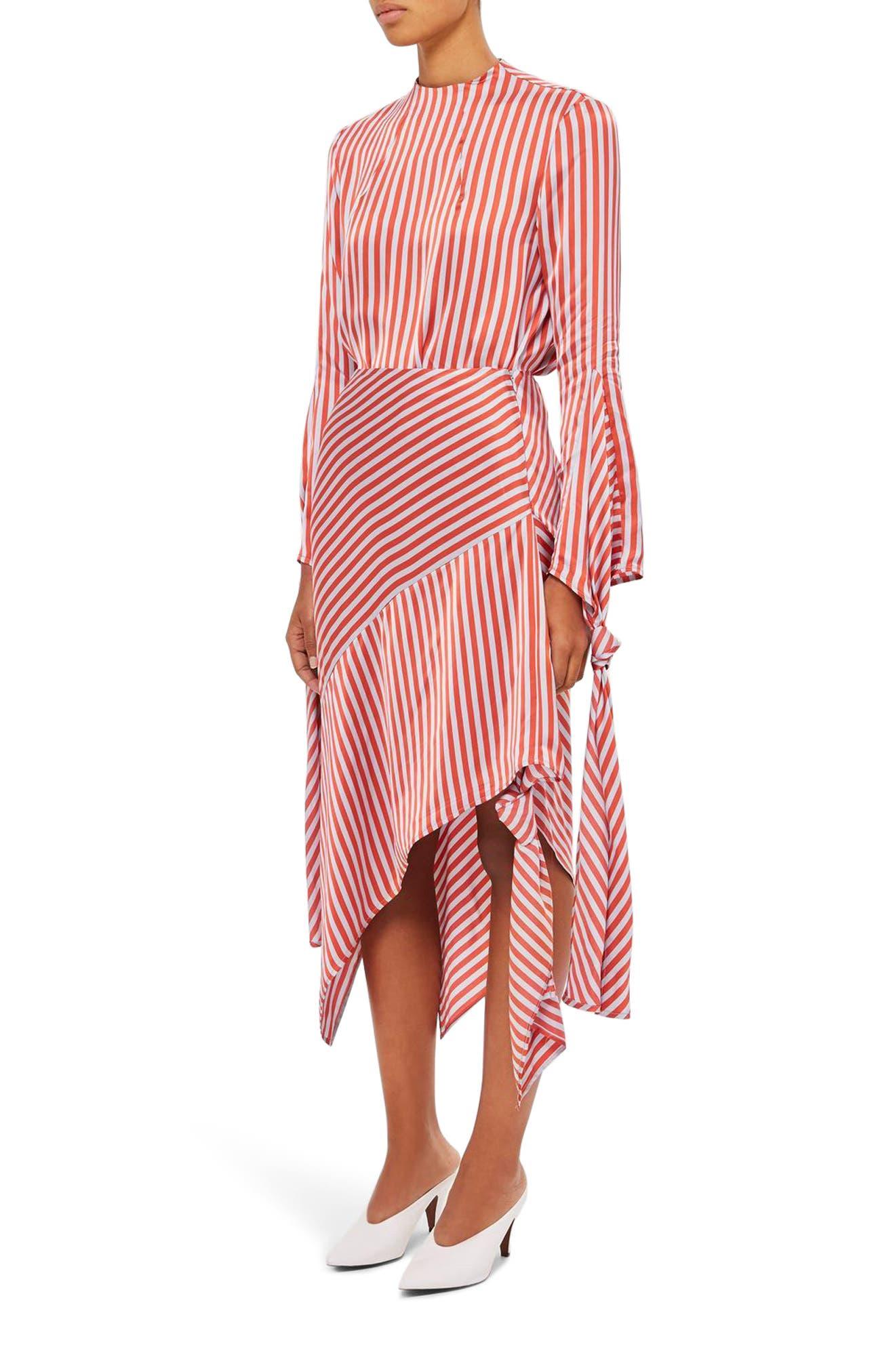 Stripe Knot Midi Skirt,                             Main thumbnail 1, color,                             Red Multi