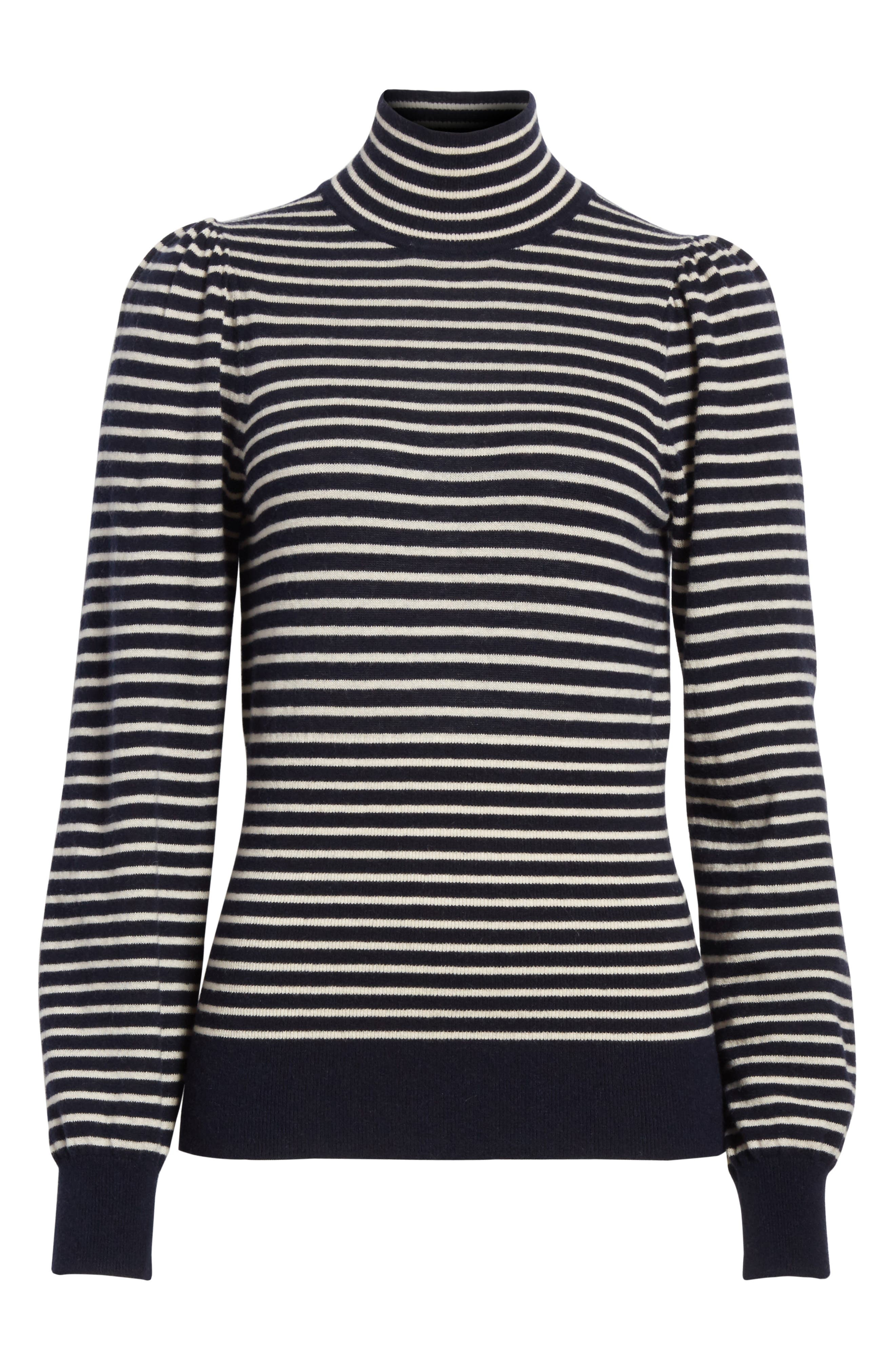 Stripe Stretch Wool Turtleneck,                             Alternate thumbnail 6, color,                             Navy/ Sand