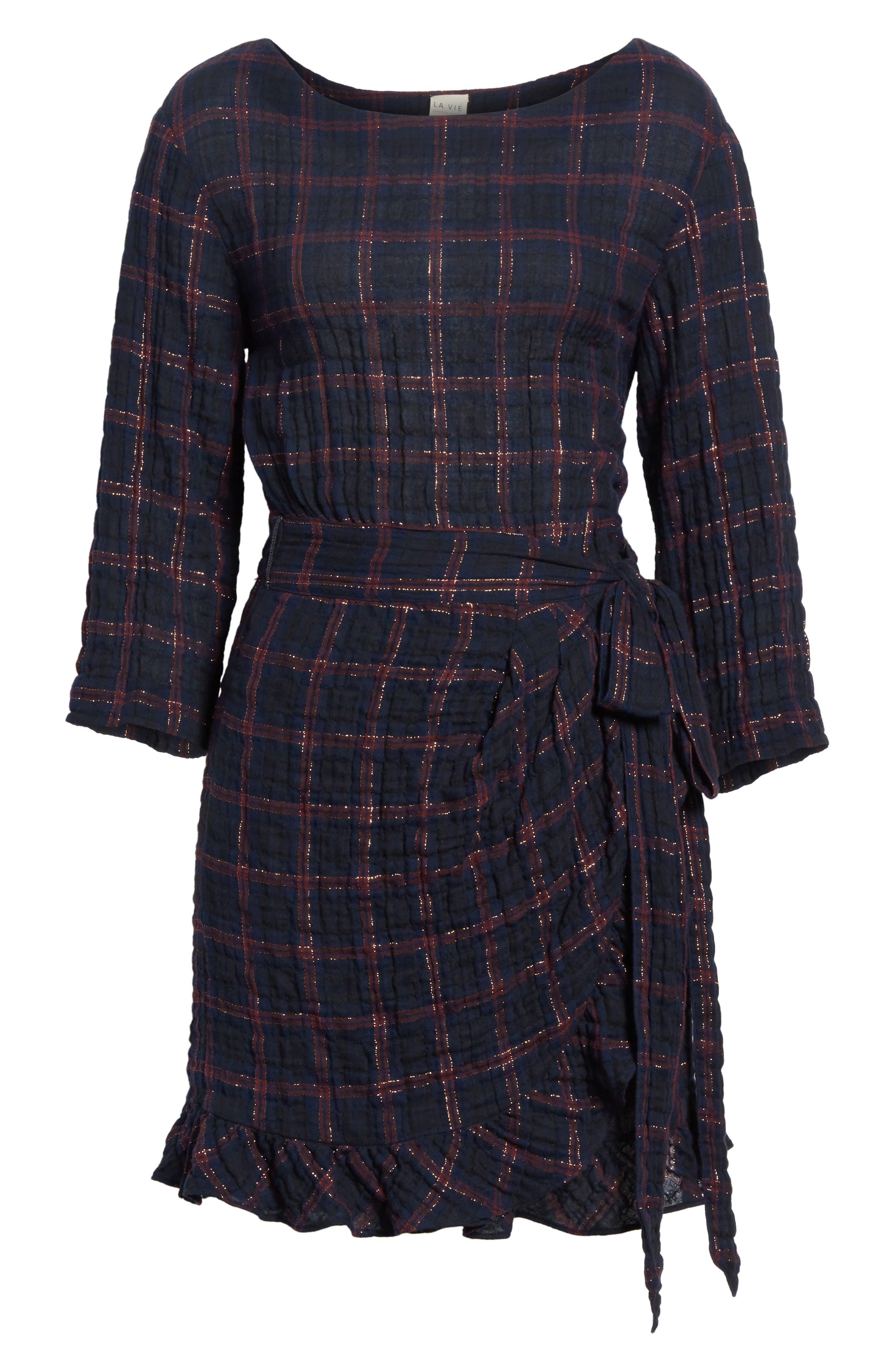 Metallic Plaid Dress,                             Alternate thumbnail 6, color,                             Navy Combo