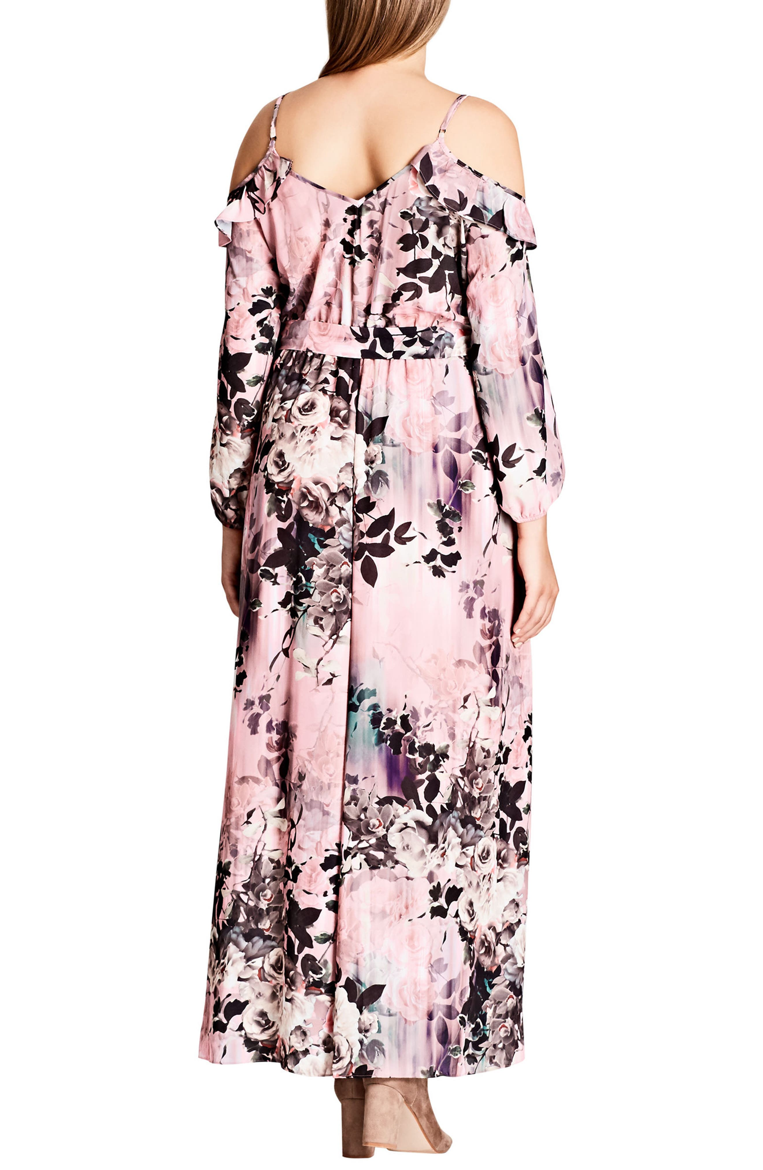 Alternate Image 2  - City Chic Divine Rose Cold Shoulder Maxi Dress (Plus Size)