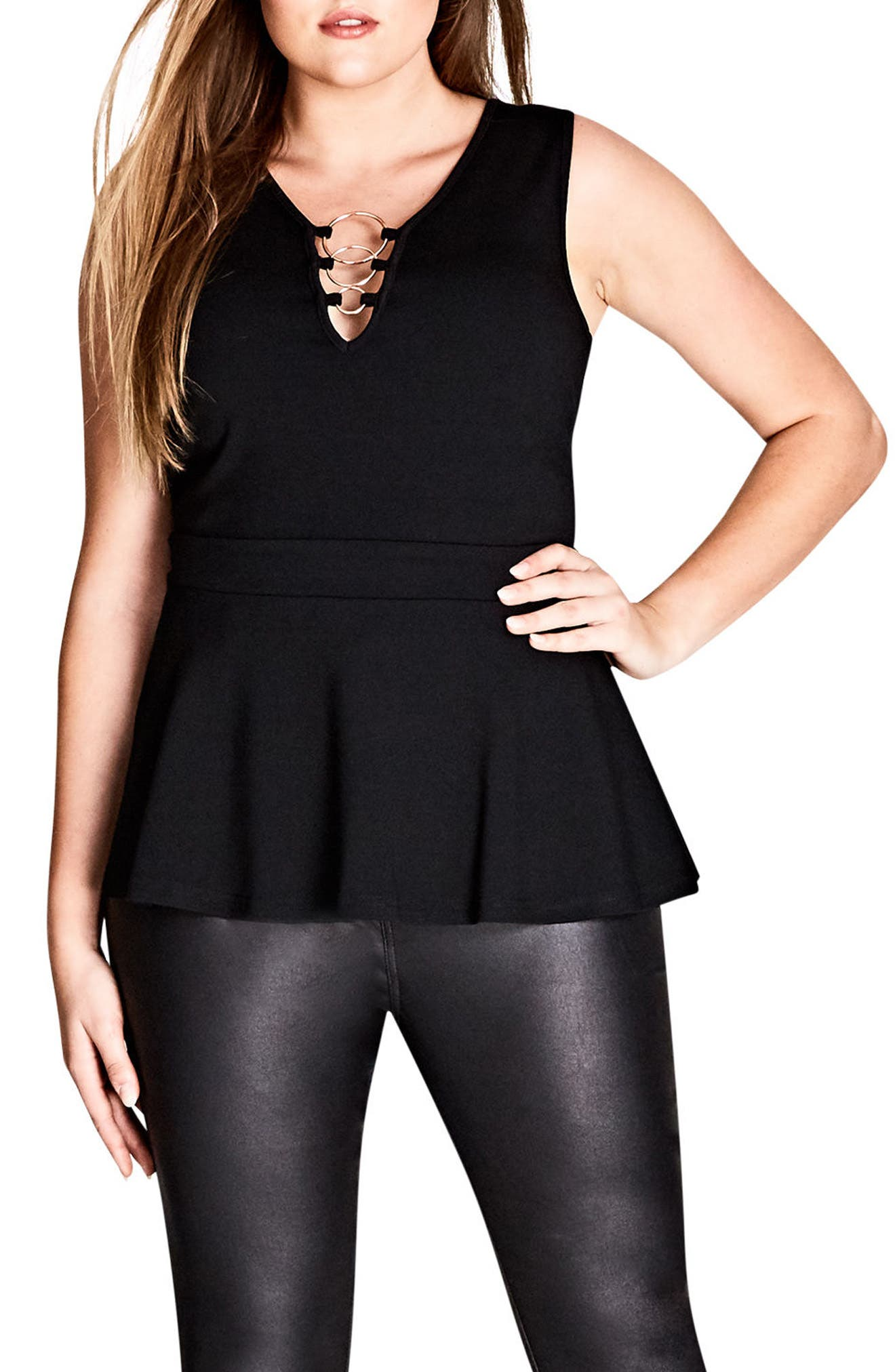 Alternate Image 1 Selected - City Chic Ring Me Up Sleeveless Peplum Top (Plus Size)