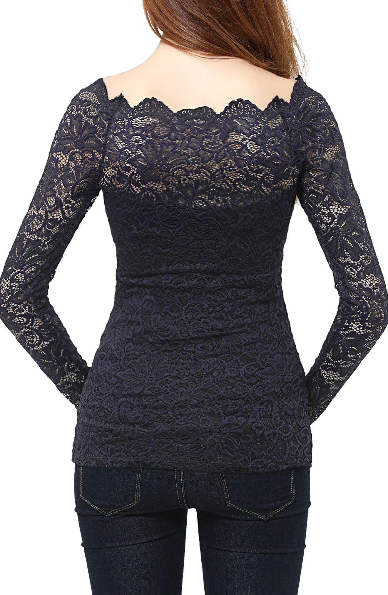 Lace Overlay Maternity Blouse,                             Alternate thumbnail 2, color,                             Navy