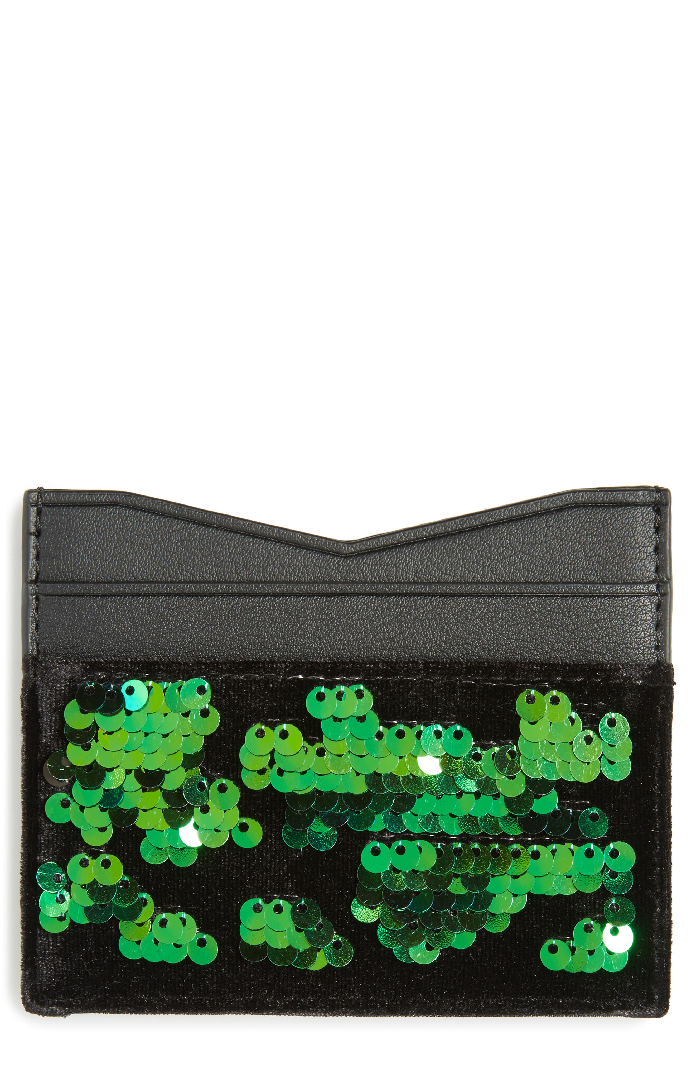 Main Image - KENDALL + KYLIE Emma Sequin & Faux Leather Card Case