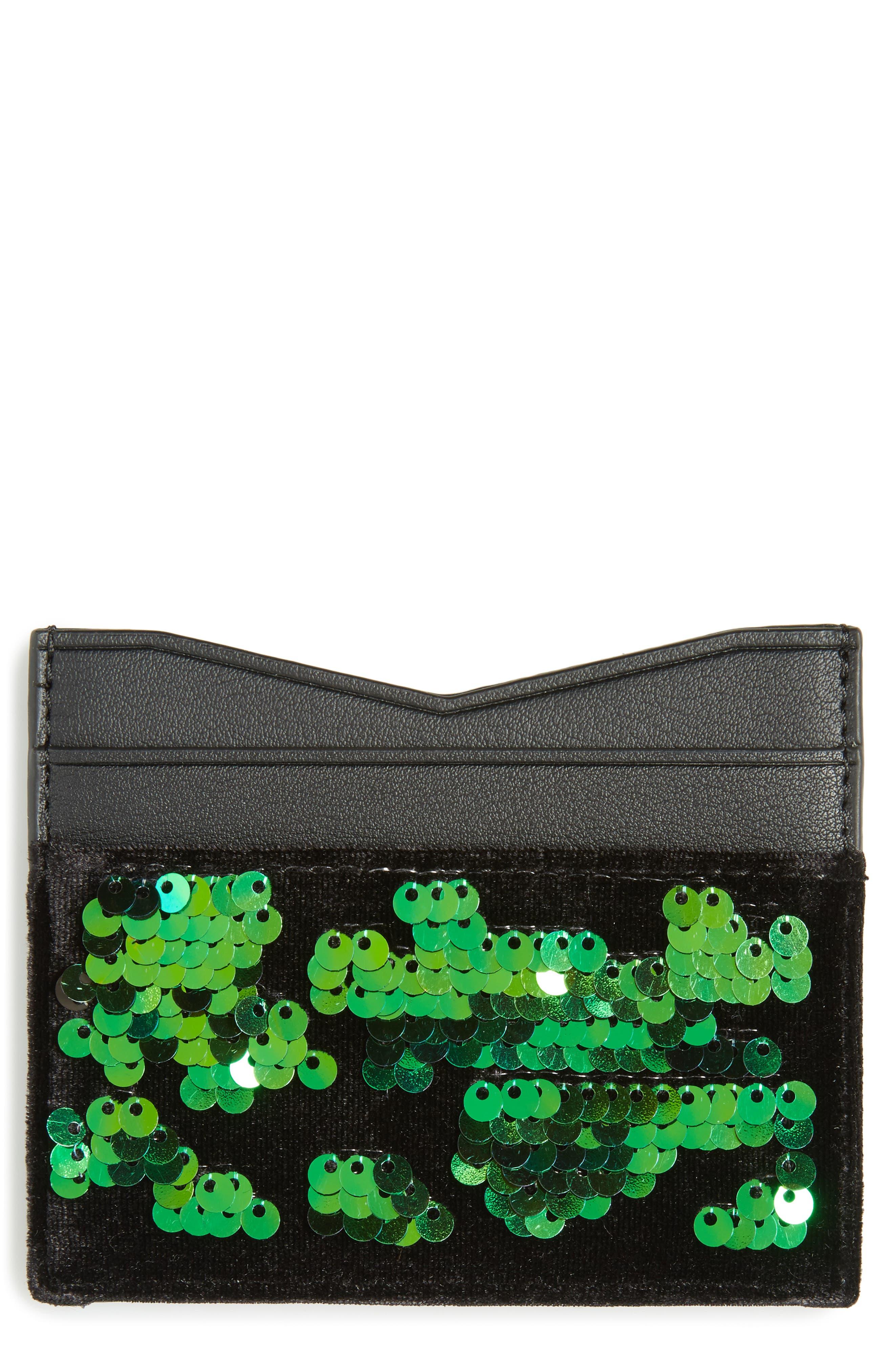 Emma Sequin & Faux Leather Card Case,                         Main,                         color, Iridescent Sequins