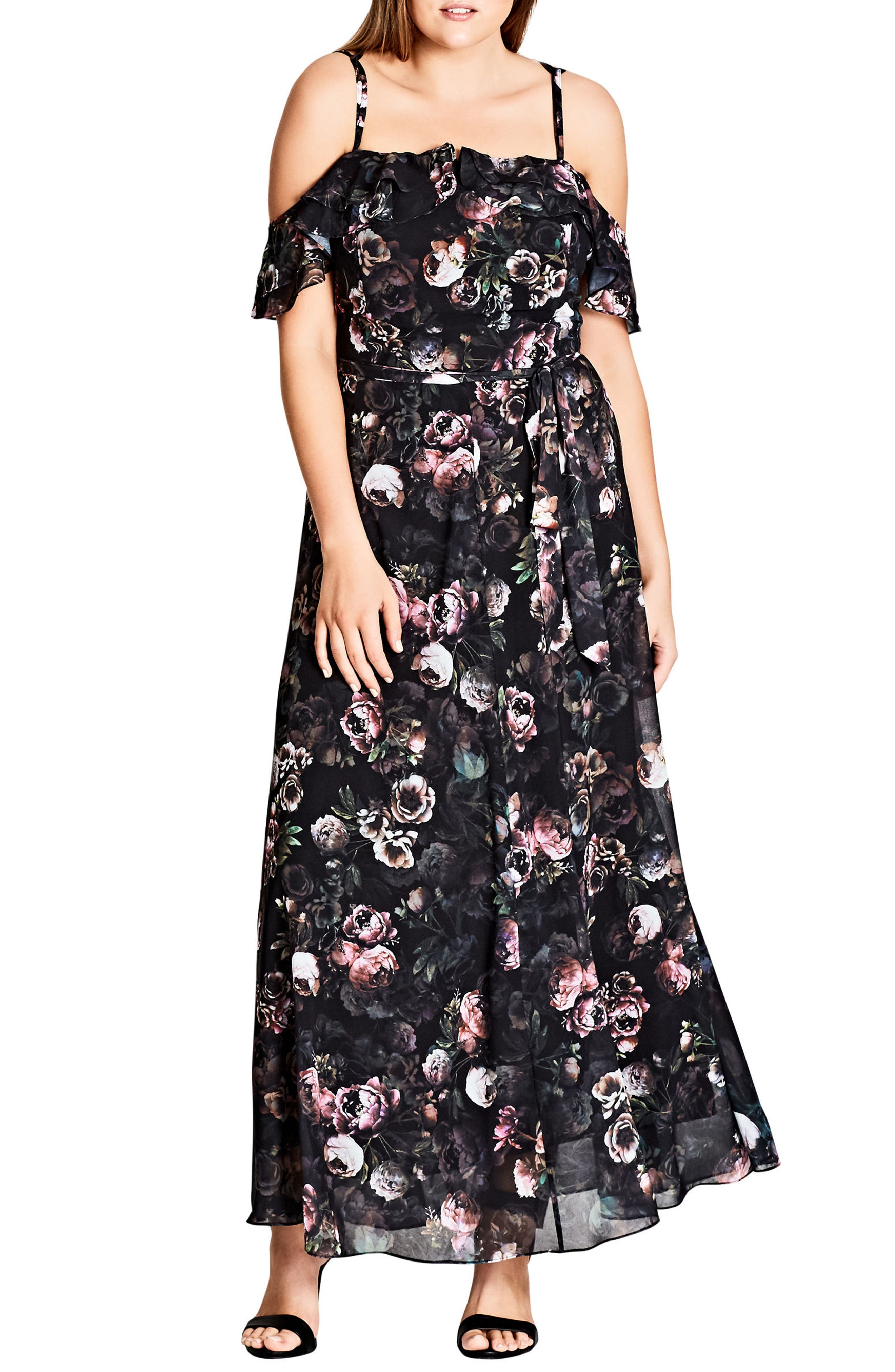 Main Image - City Chic Vintage Peony Strappy Off the Shoulder Maxi Dress (Plus Size)