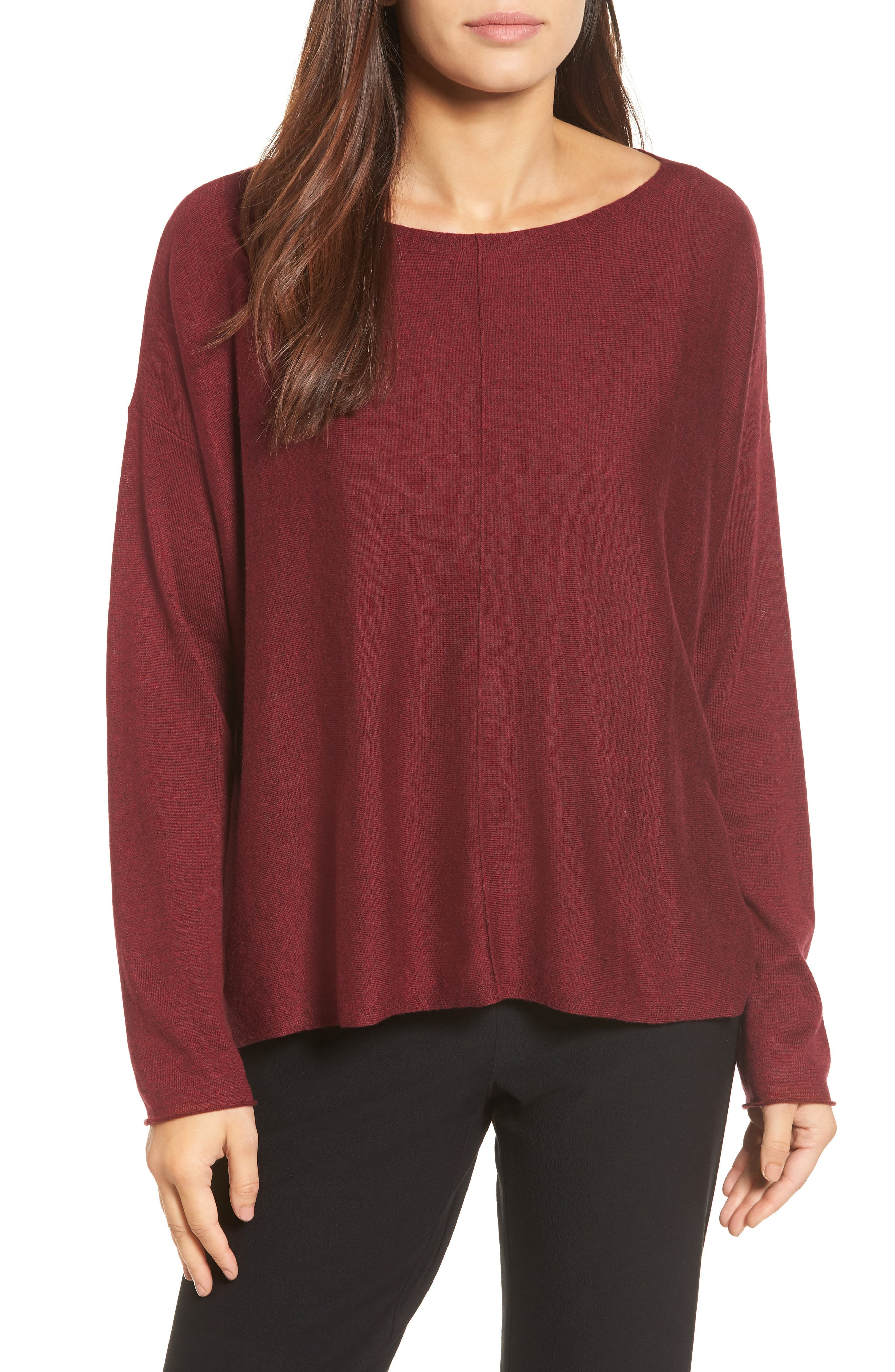 Tencel<sup>®</sup> Lyocell Blend High/Low Sweater,                             Main thumbnail 1, color,                             Claret