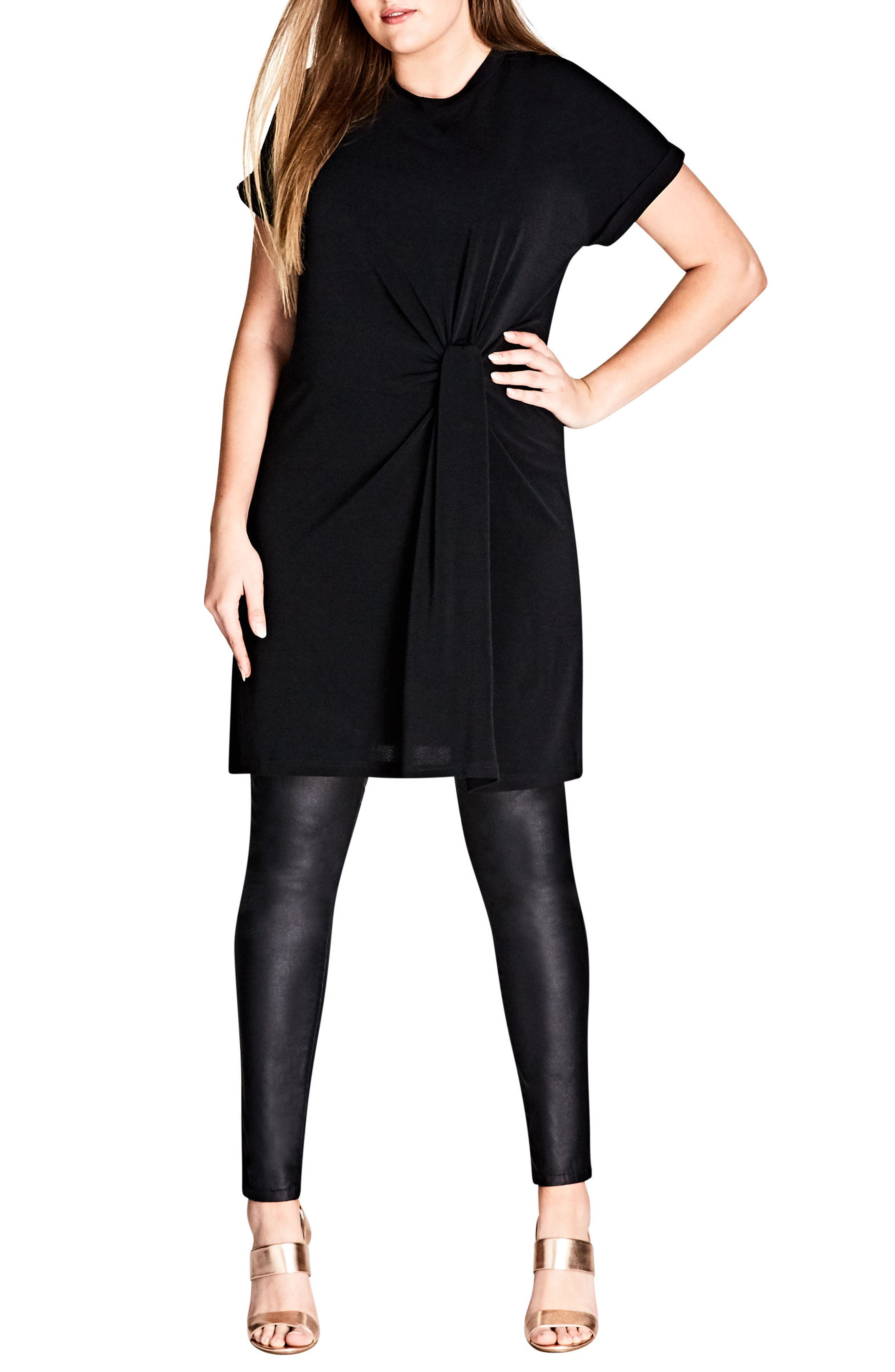Knot Front Tunic,                         Main,                         color, Black