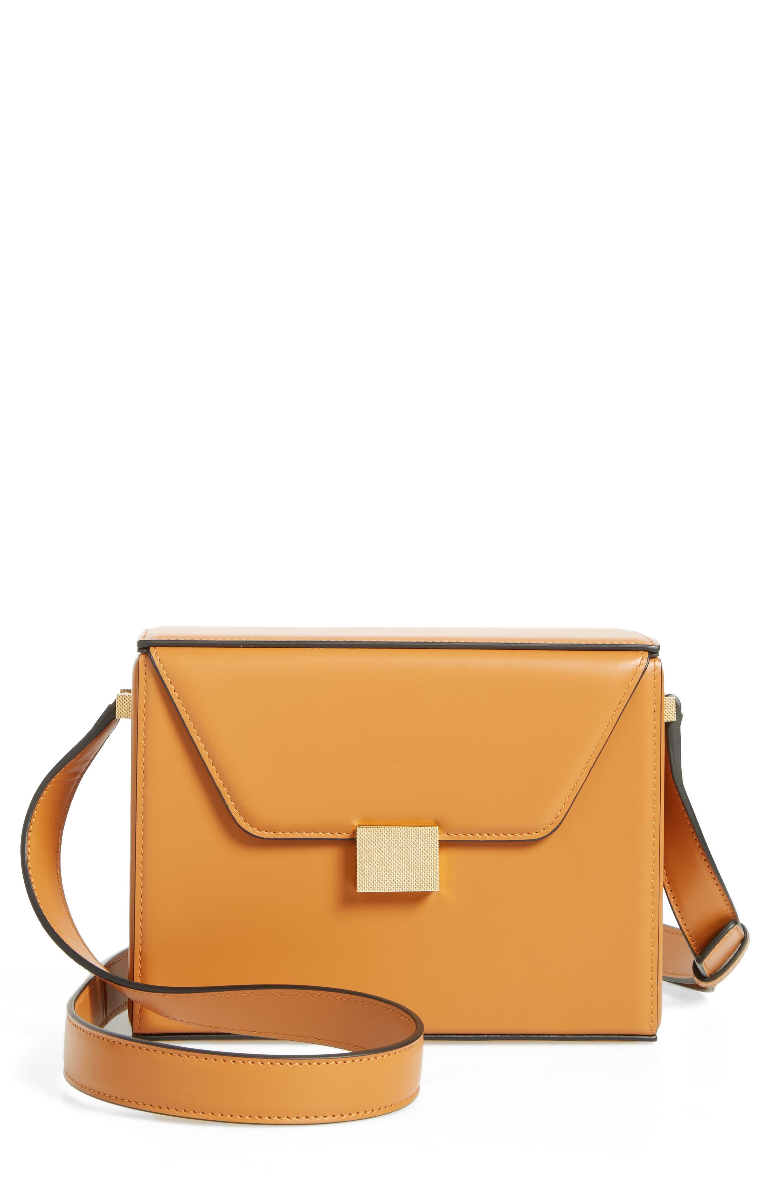 Vanity Calfskin Leather Box Bag,                             Main thumbnail 1, color,                             Mustard