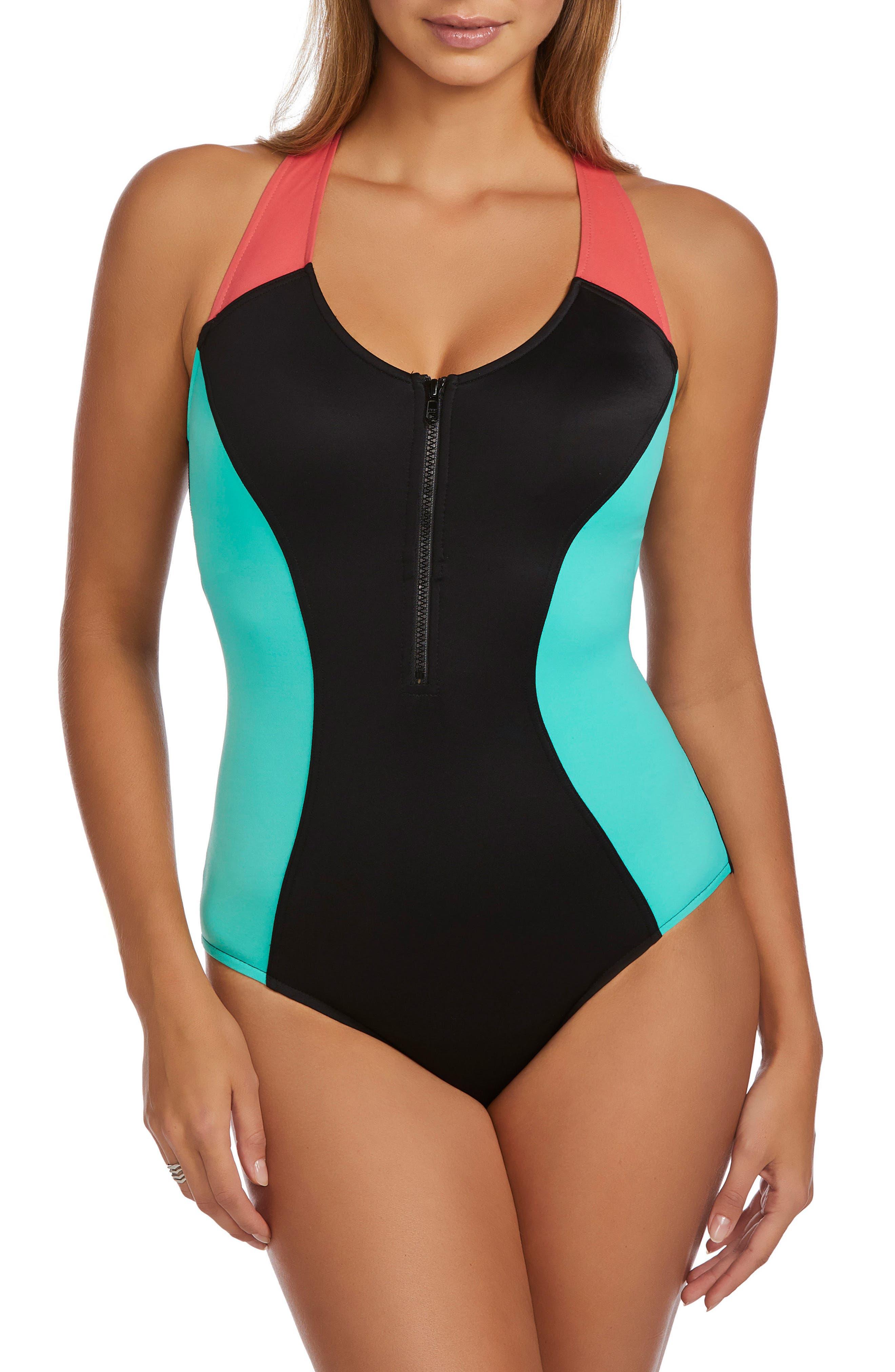 Dive In Nikki One-Piece Swimsuit,                             Main thumbnail 1, color,                             Black Multi