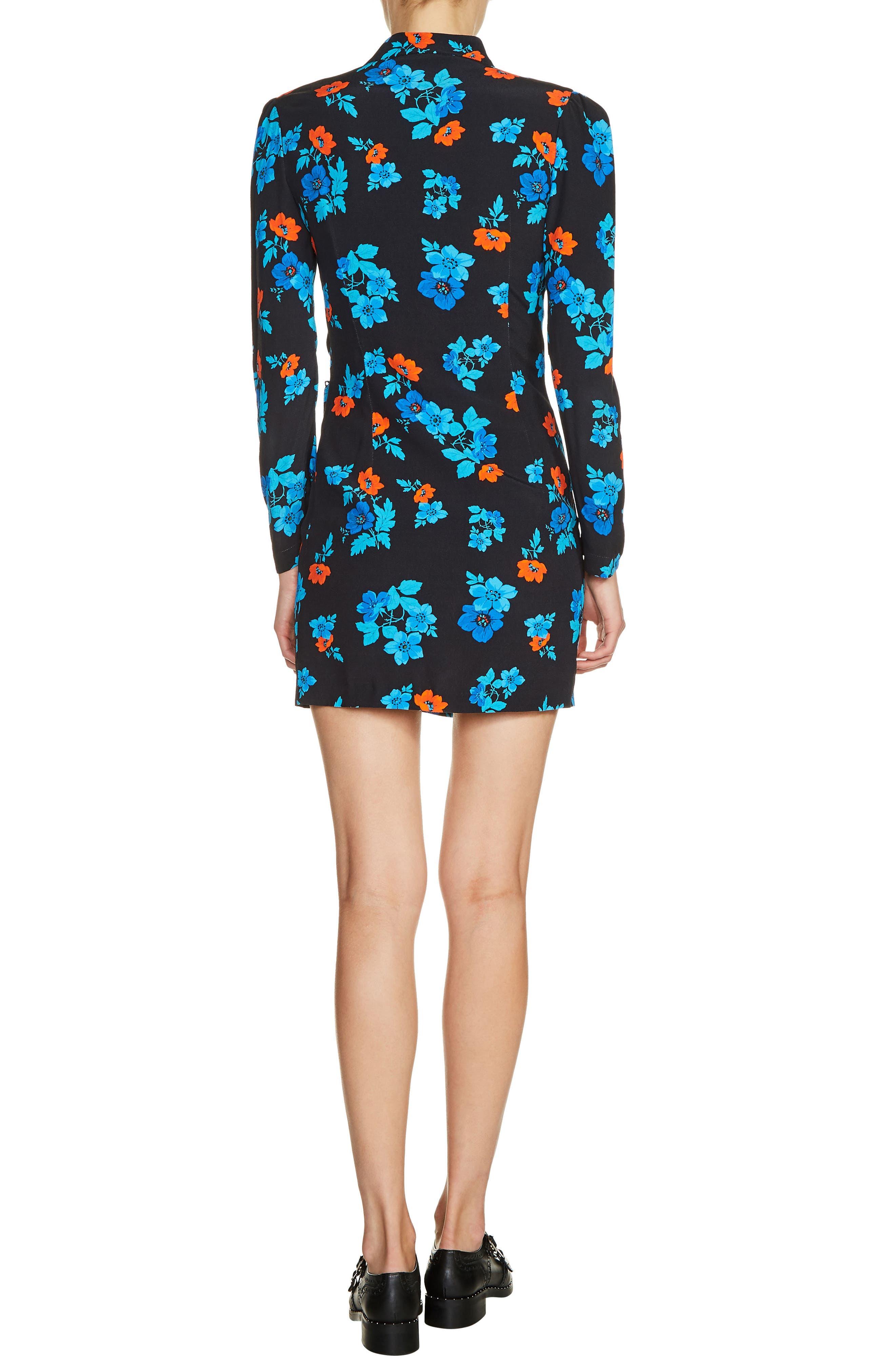 Floral Faux Wrap Dress,                             Alternate thumbnail 2, color,                             Blue