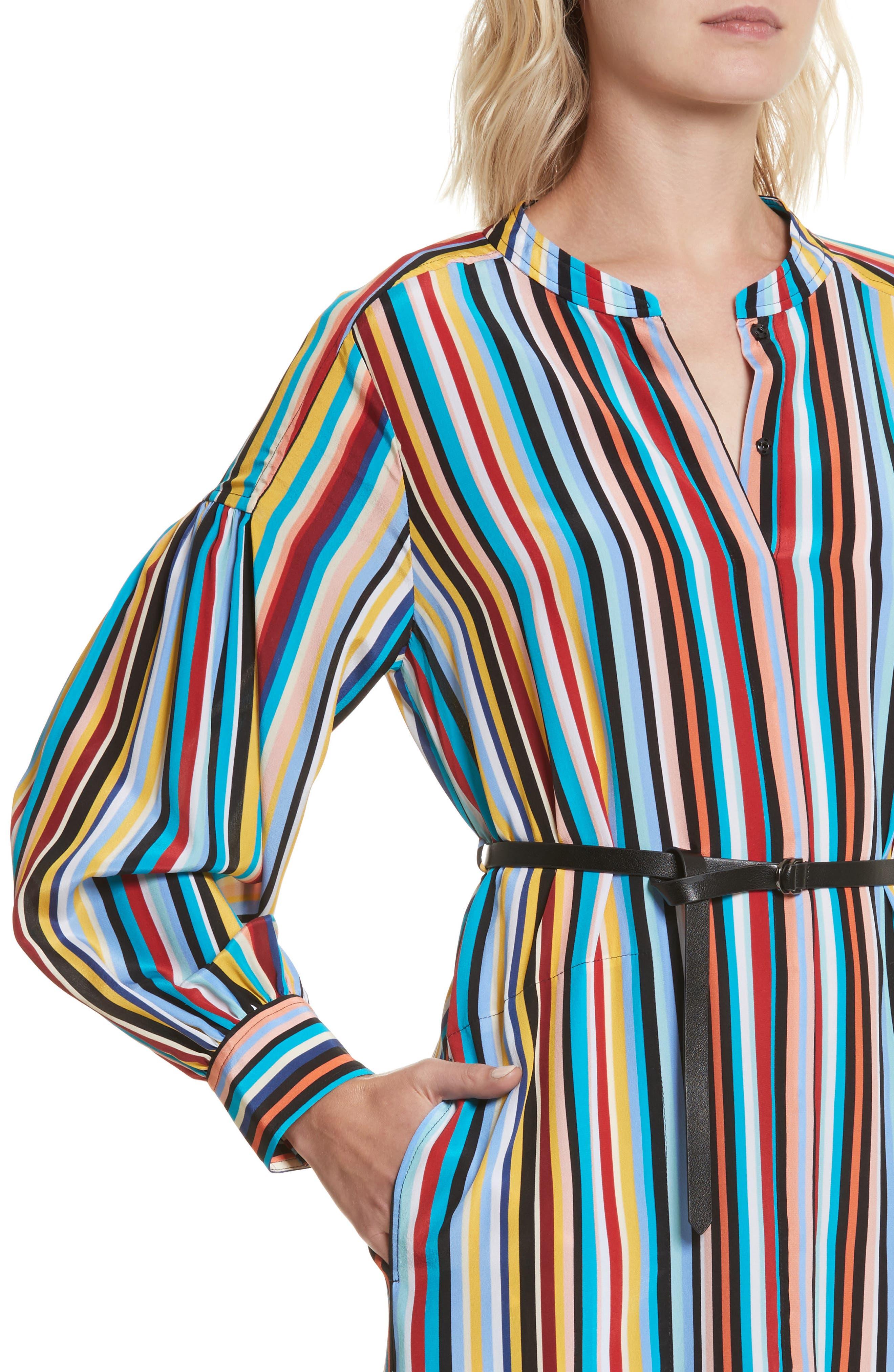 Stripe Silk Shirtdress,                             Alternate thumbnail 4, color,                             Skinny Stripes