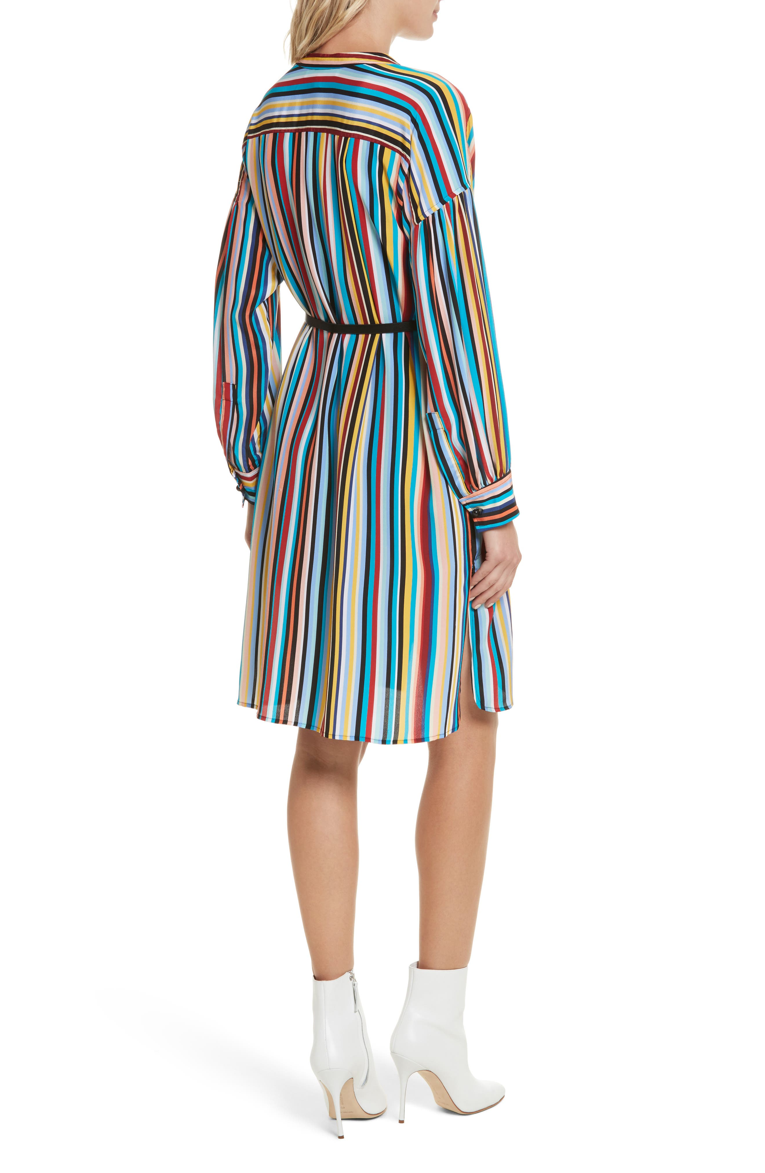Stripe Silk Shirtdress,                             Alternate thumbnail 2, color,                             Skinny Stripes