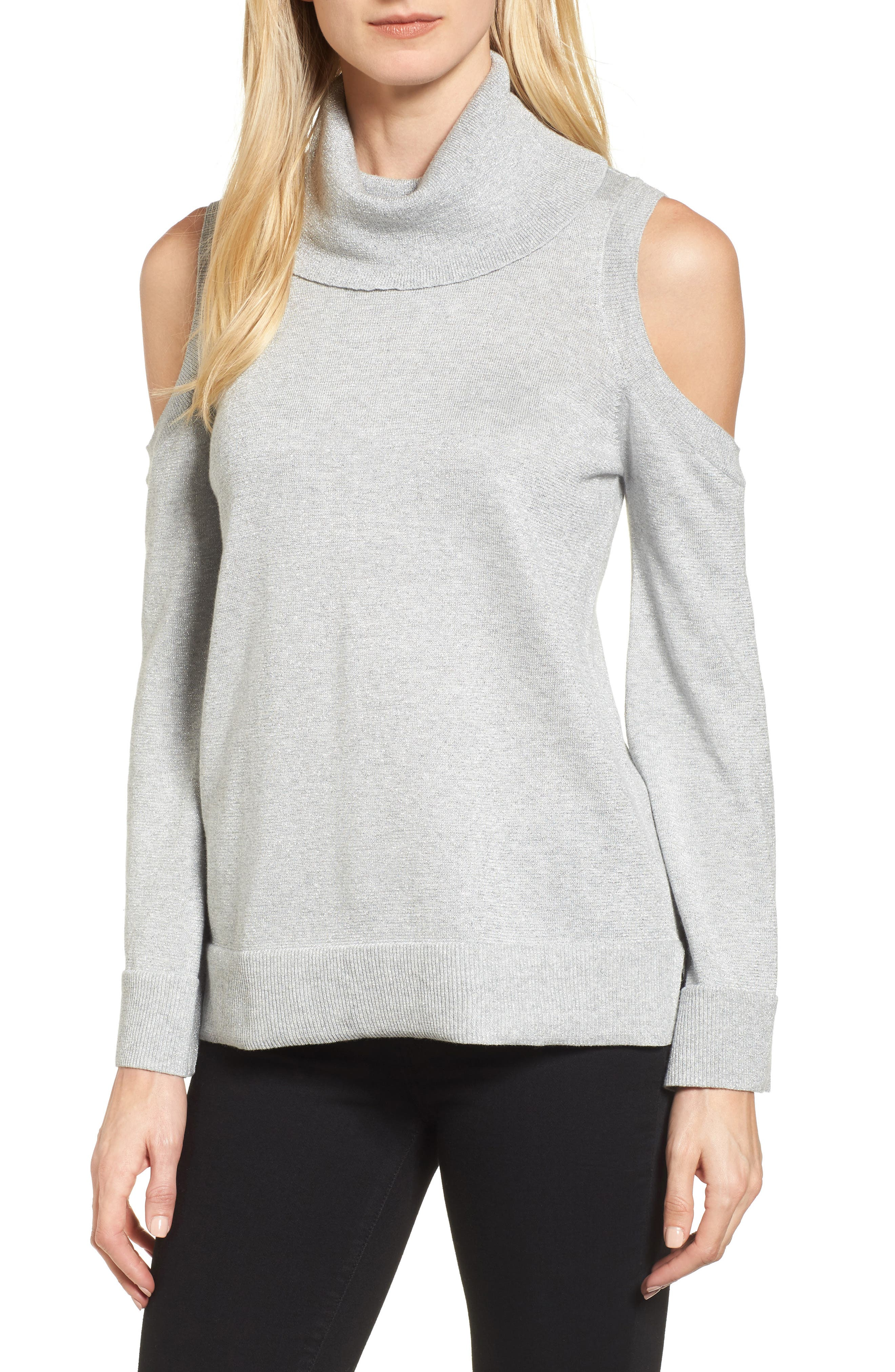 Metallic Cold Shoulder Cowl Neck Sweater,                         Main,                         color, Grey Heather