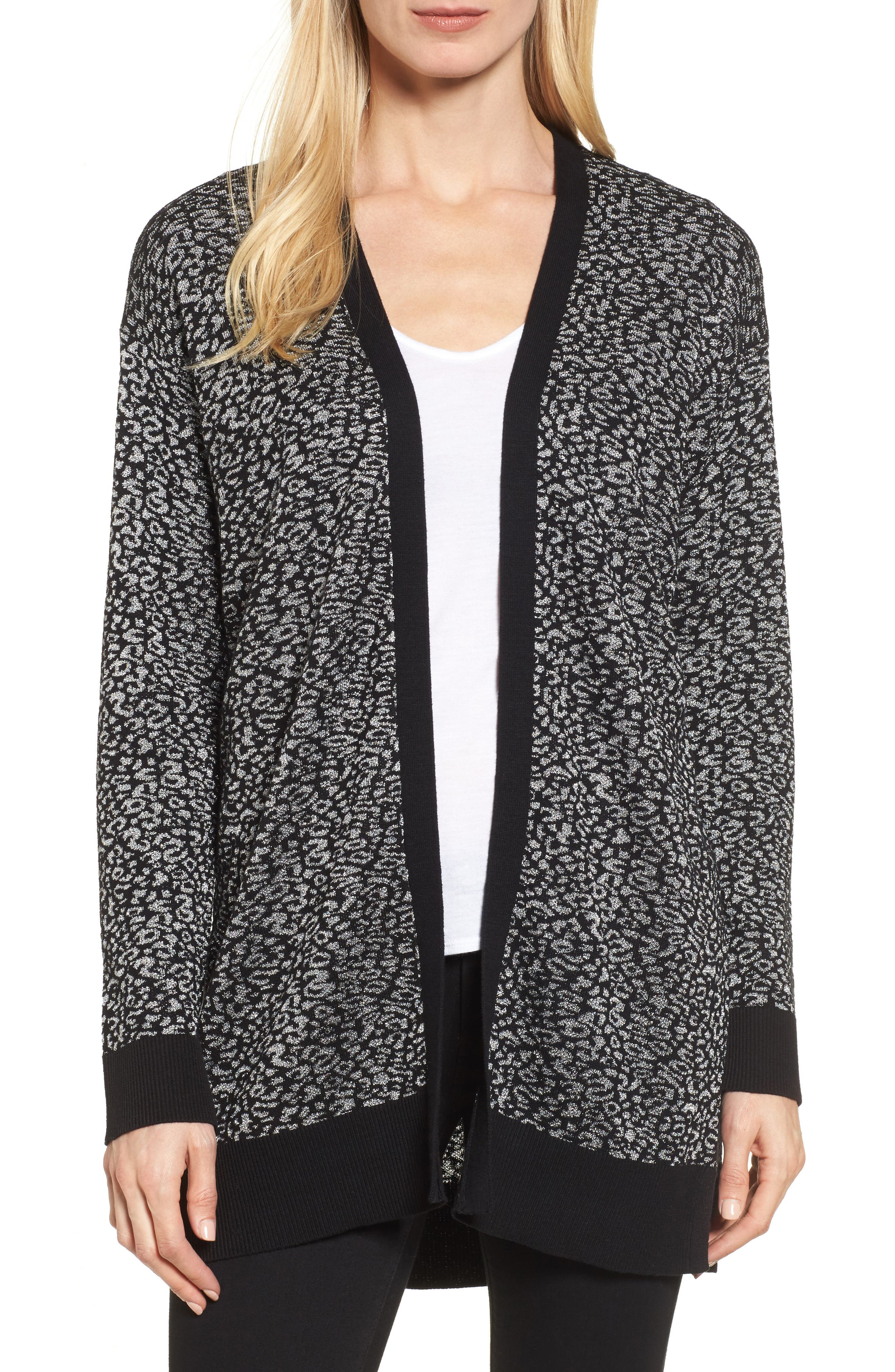Main Image - Chaus Metallic Animal Jacquard Long Cardigan
