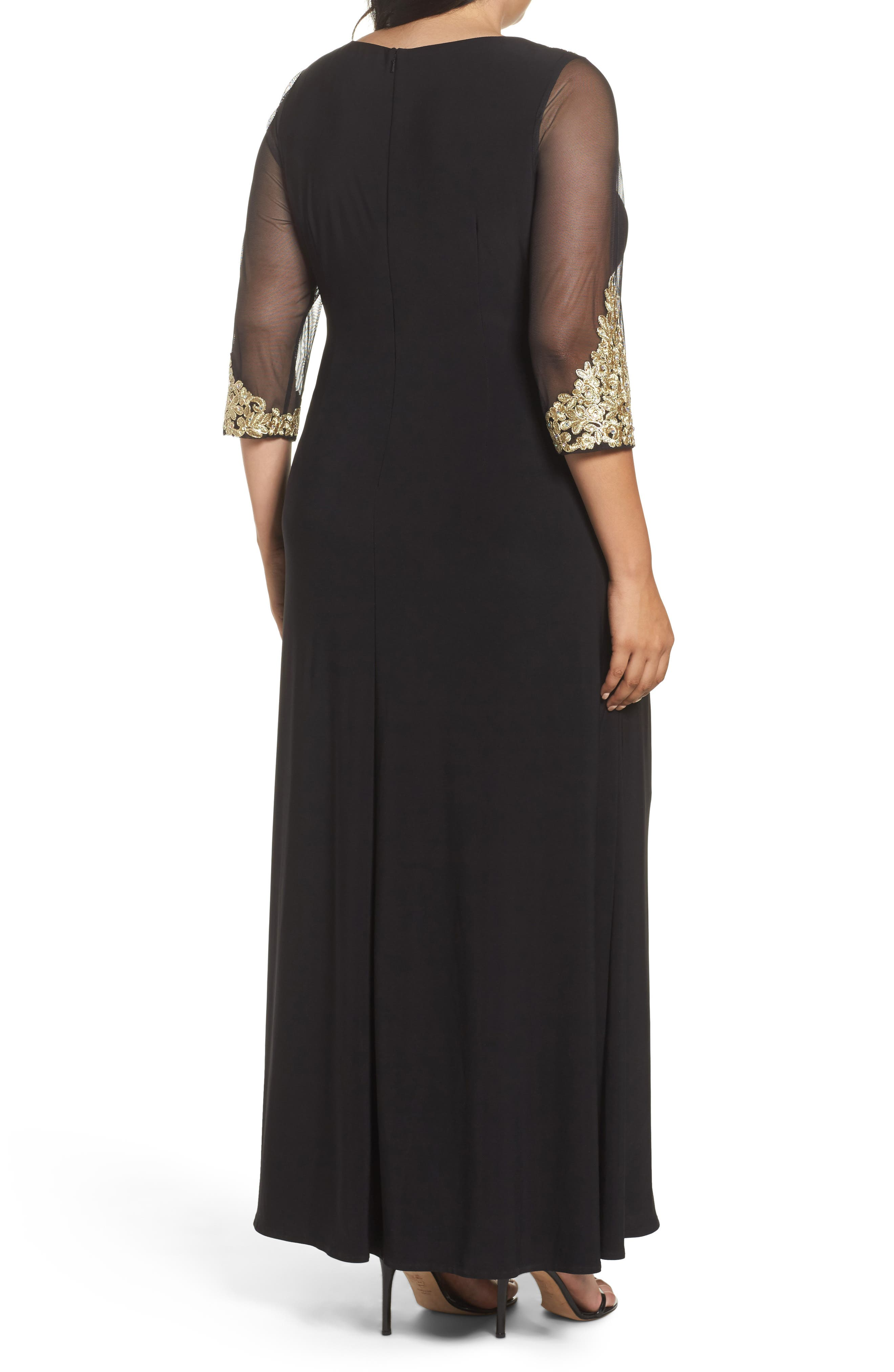 Embroidered A-Line Gown,                             Alternate thumbnail 2, color,                             Black/ Gold