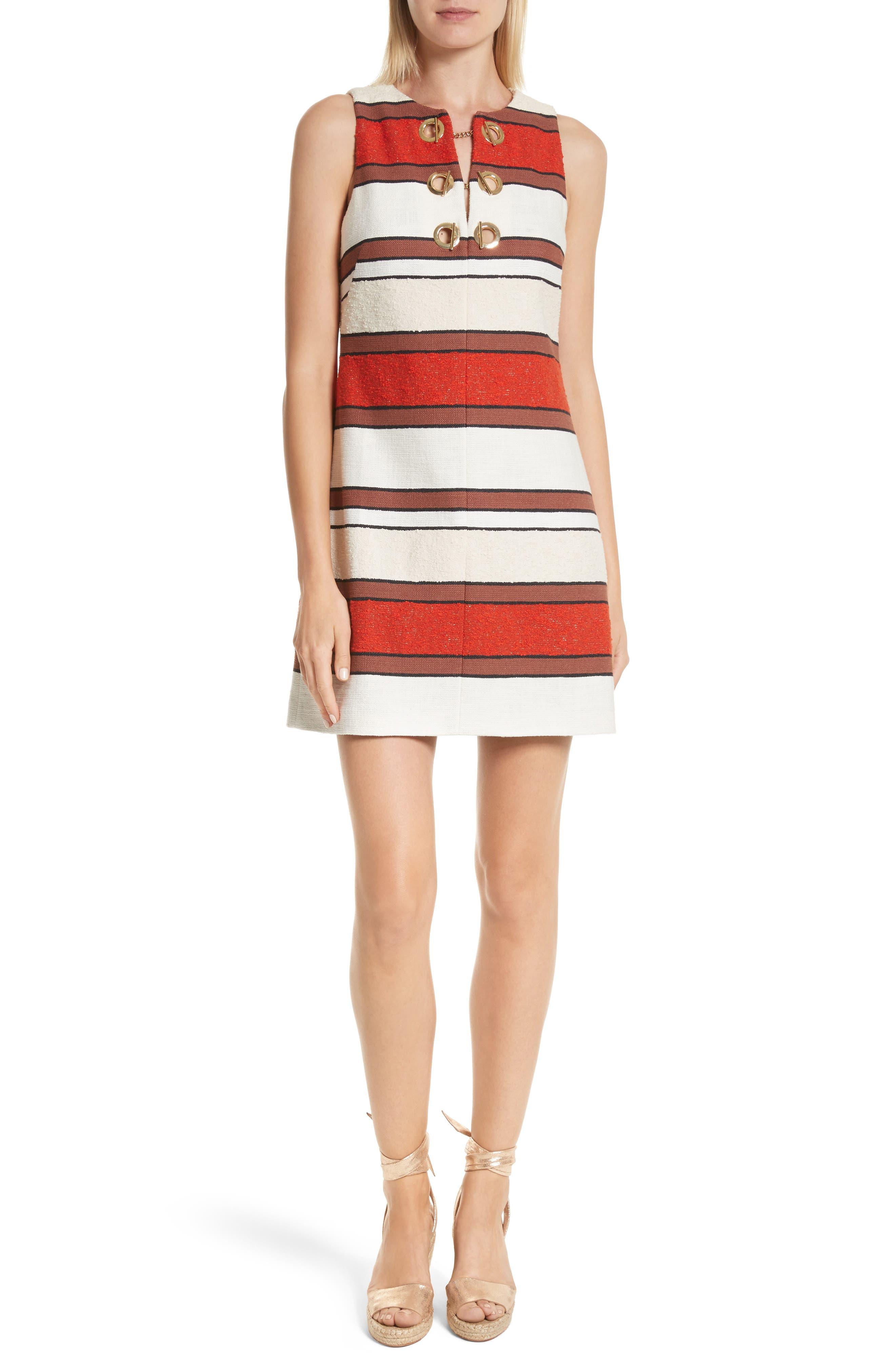 Grommet Detail Stripe Shift Dress,                             Main thumbnail 1, color,                             Poppy