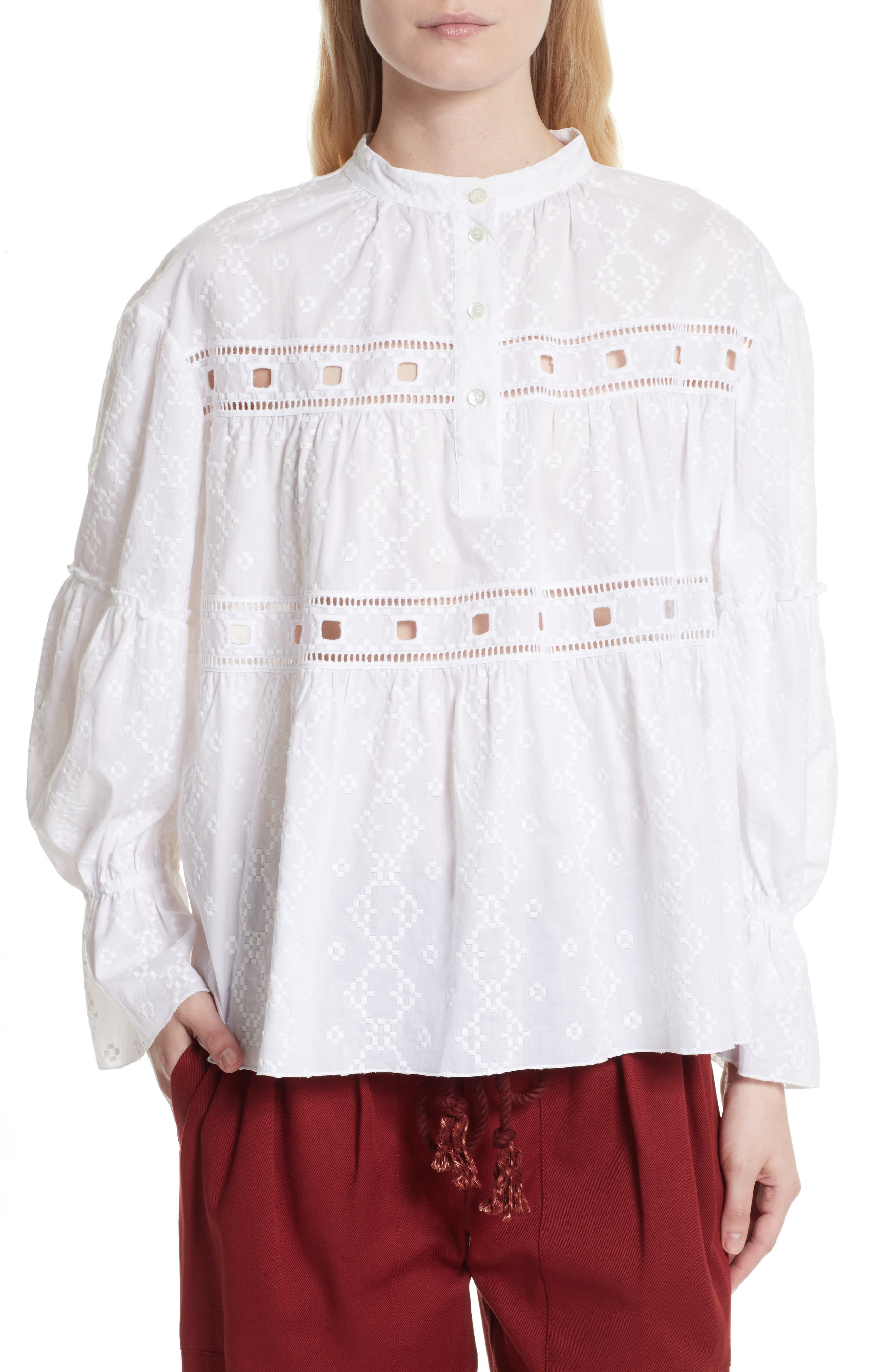 Embroidered Eyelet Blouse,                         Main,                         color, White