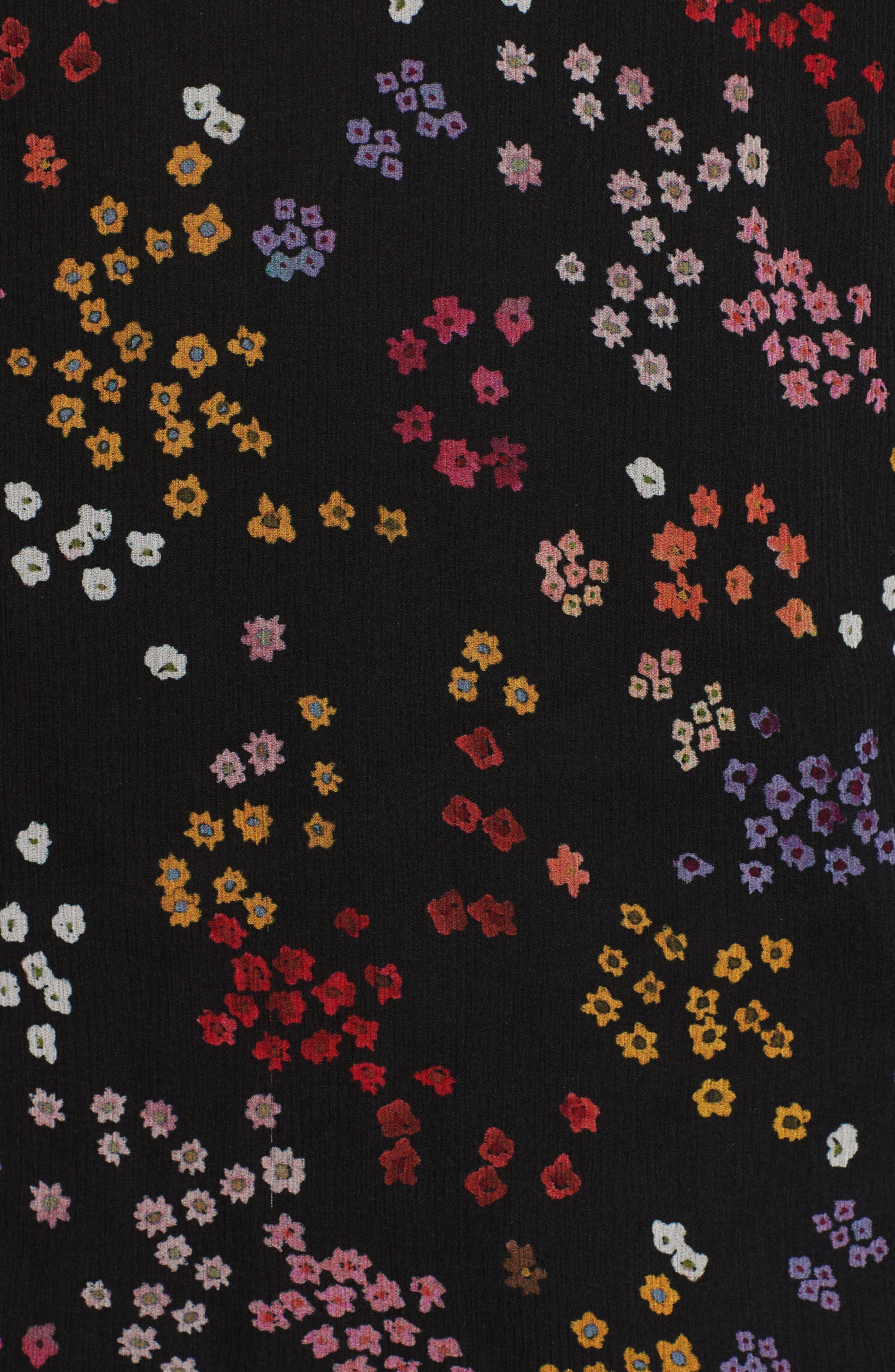 Floral Silk Blouse,                             Alternate thumbnail 5, color,                             Multicolor Black 1