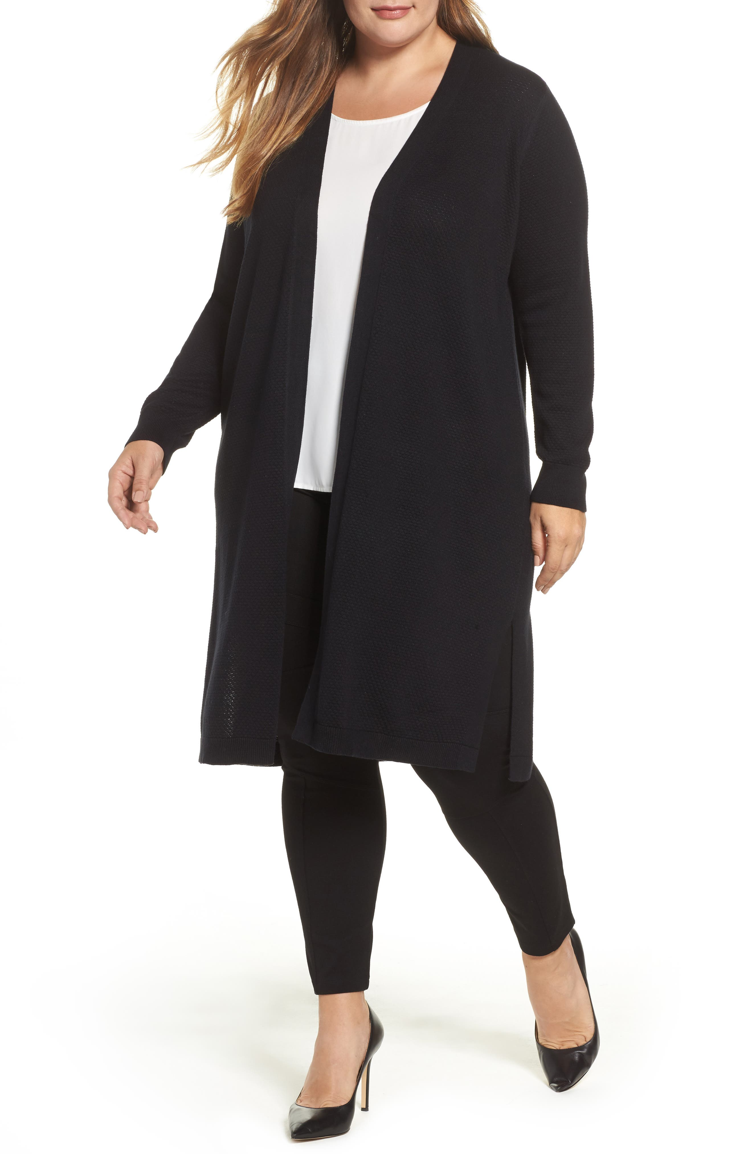 Vince Camuto Textured Long Cardigan (Plus Size)