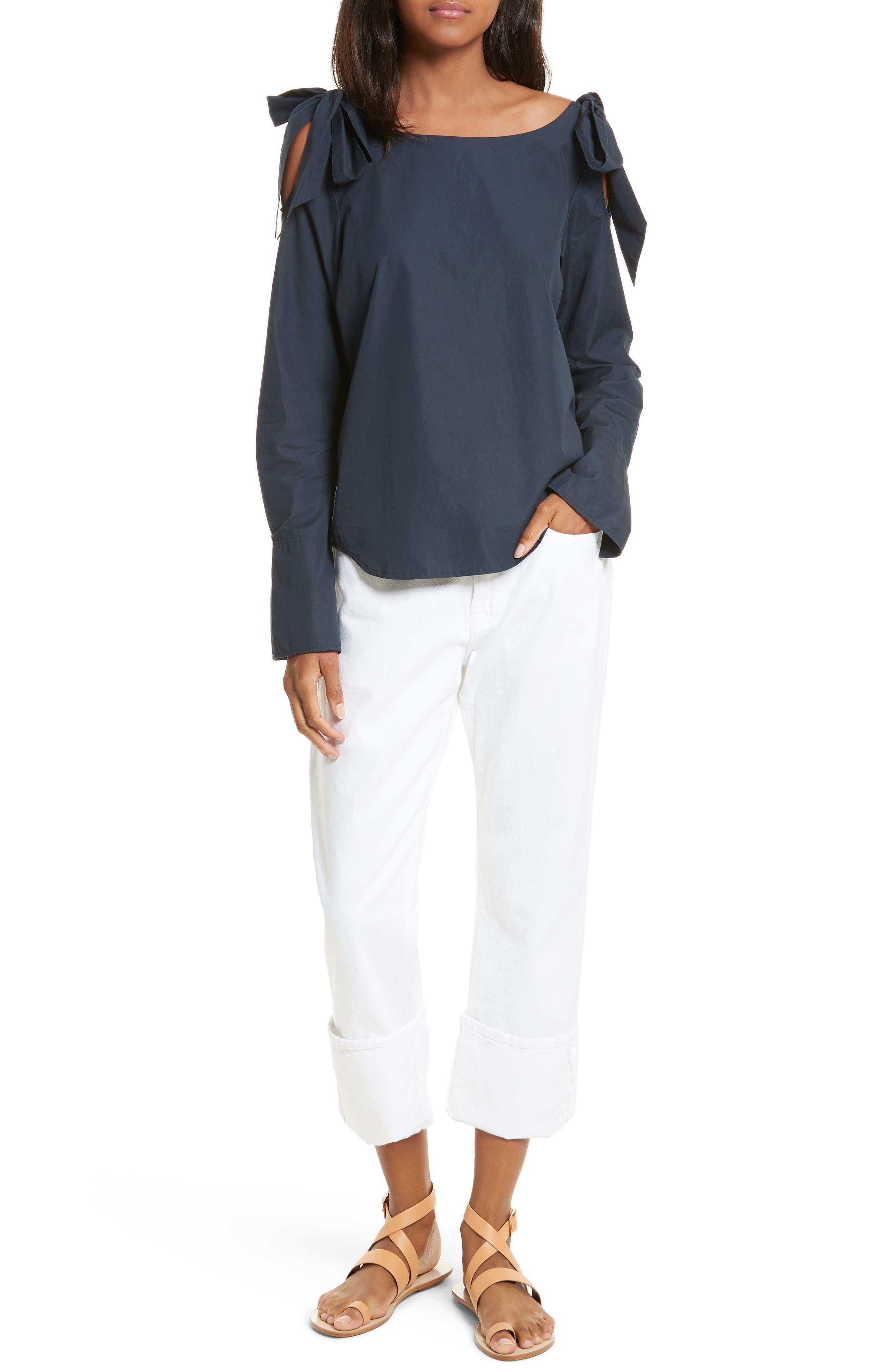 Bow Cold Shoulder Cotton Blouse,                             Alternate thumbnail 6, color,                             Navy