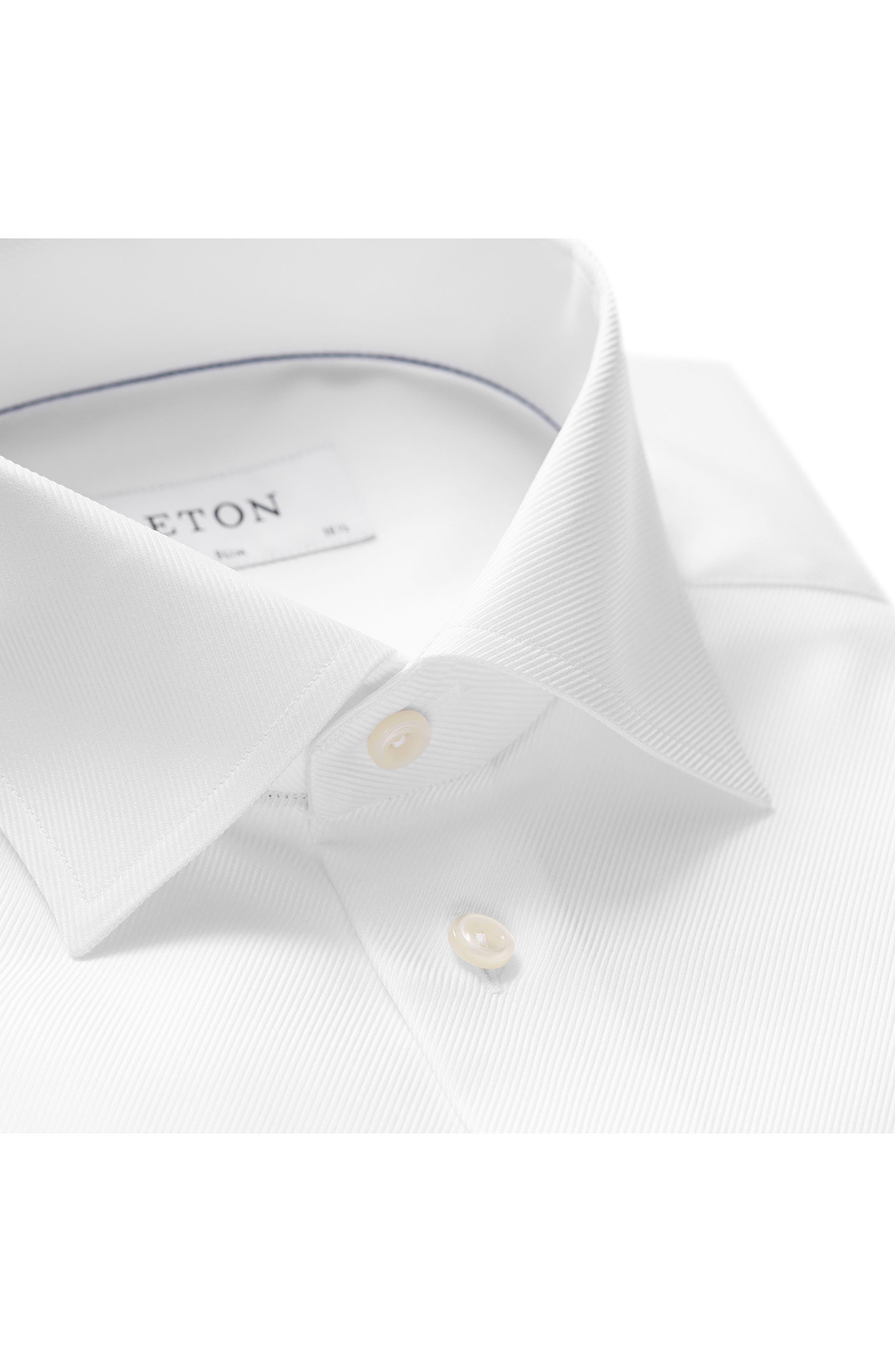 Slim Fit Cavalry Twill Dress Shirt,                             Alternate thumbnail 2, color,                             White
