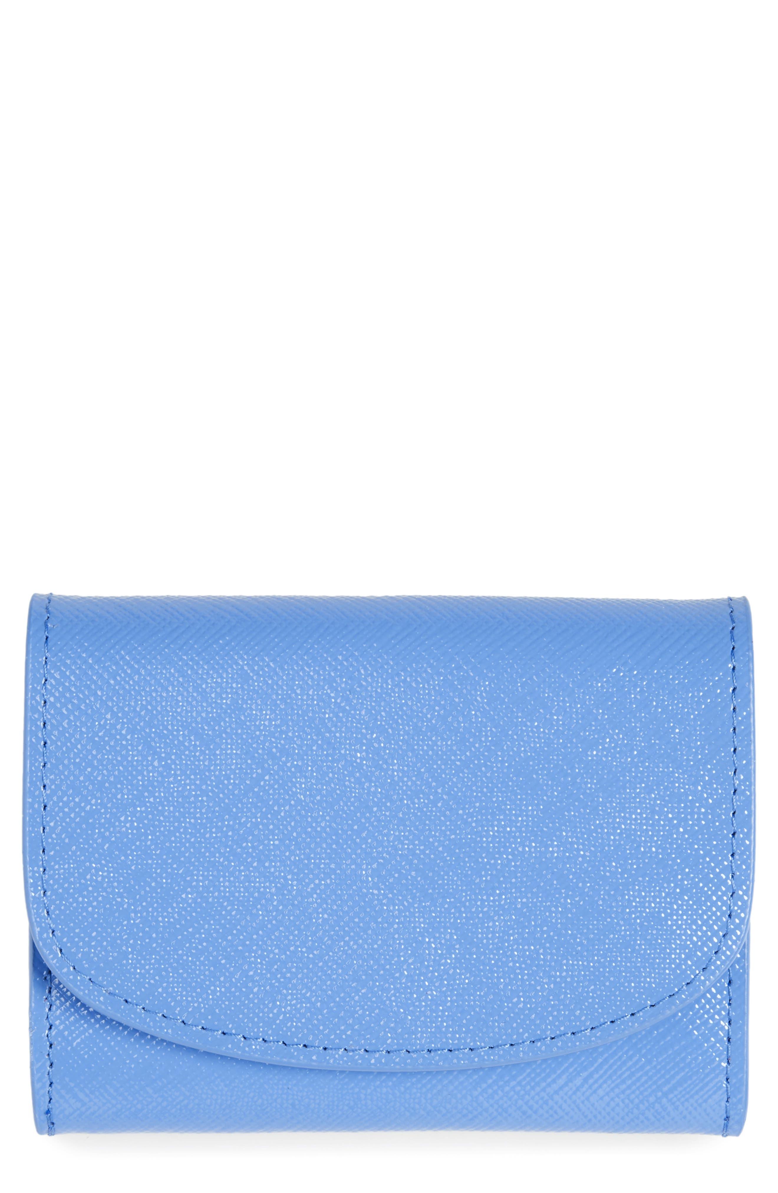 Leather Card Holder,                             Main thumbnail 1, color,                             Blue Regatta