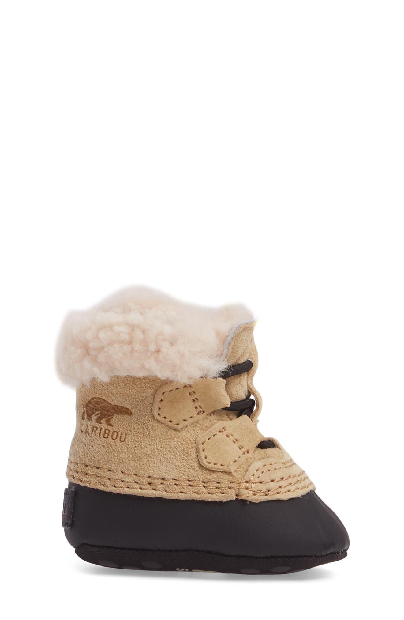 Alternate Image 3  - SOREL Caribootie Genuine Shearling Crib Shoe (Baby)