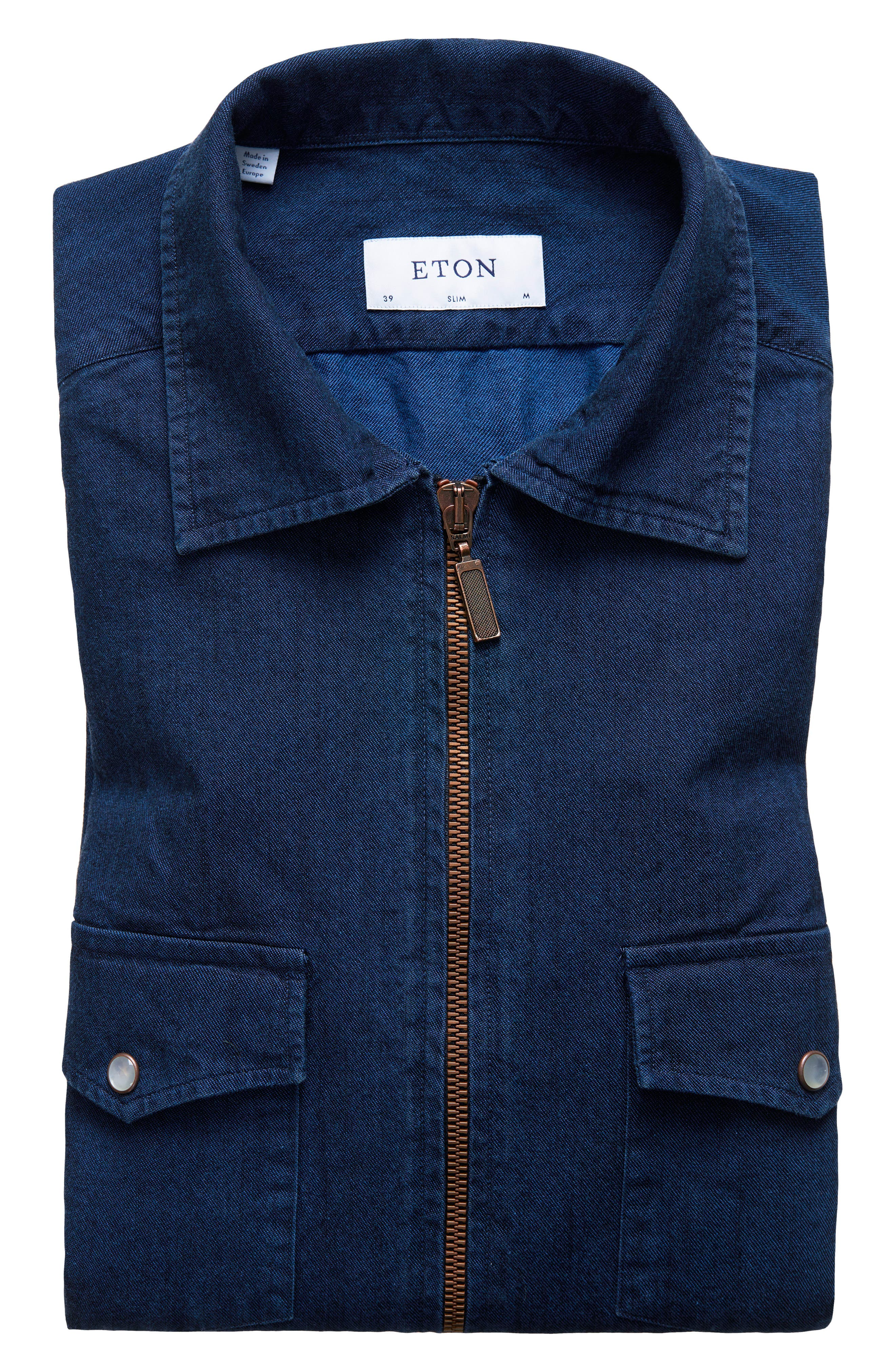 Eton Slim Fit Chambray Zip Sport Shirt Jacket