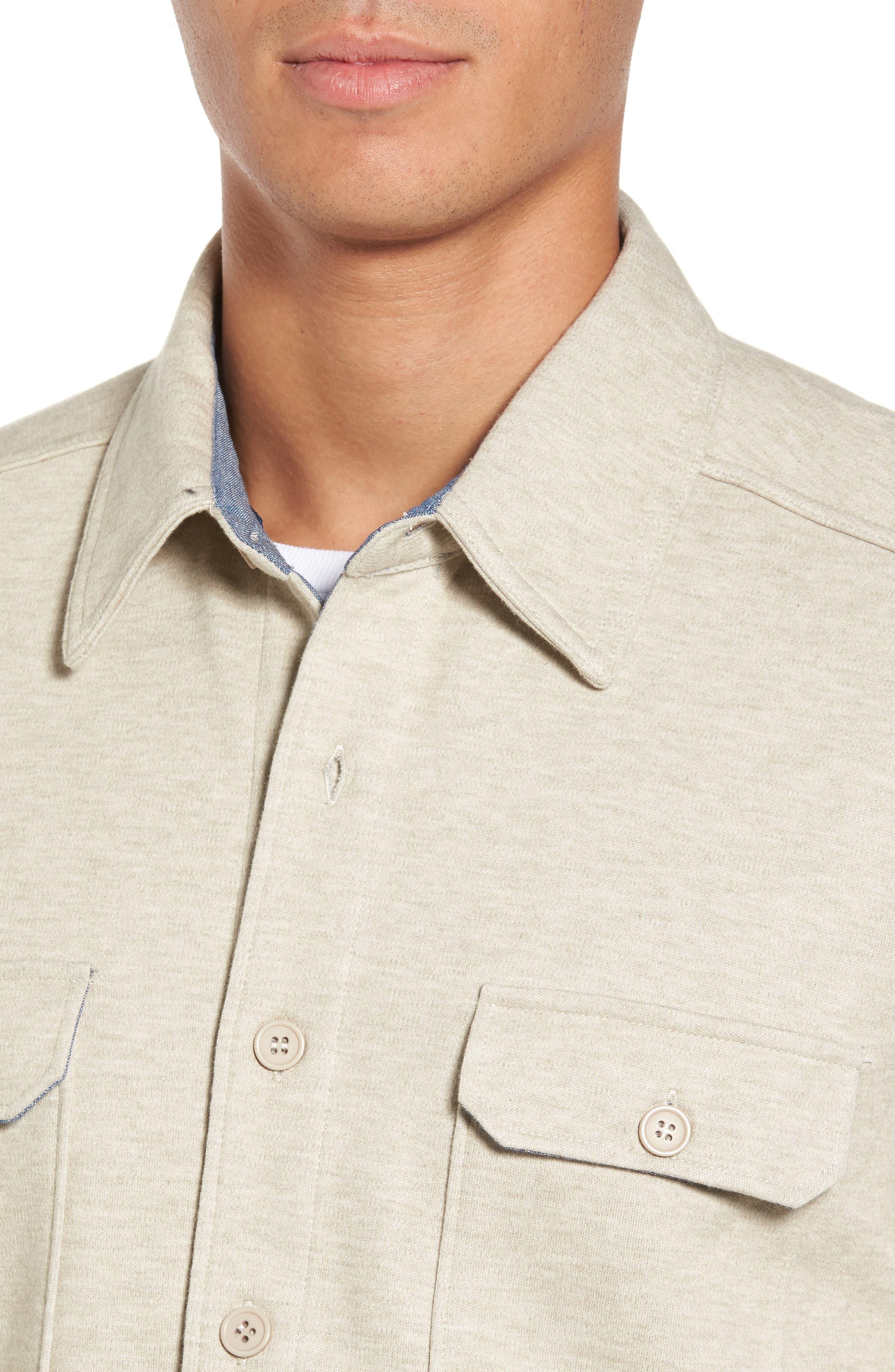 'Longitude' Flap Pocket Fleece Shirt,                             Alternate thumbnail 4, color,                             Bamboo Ivory