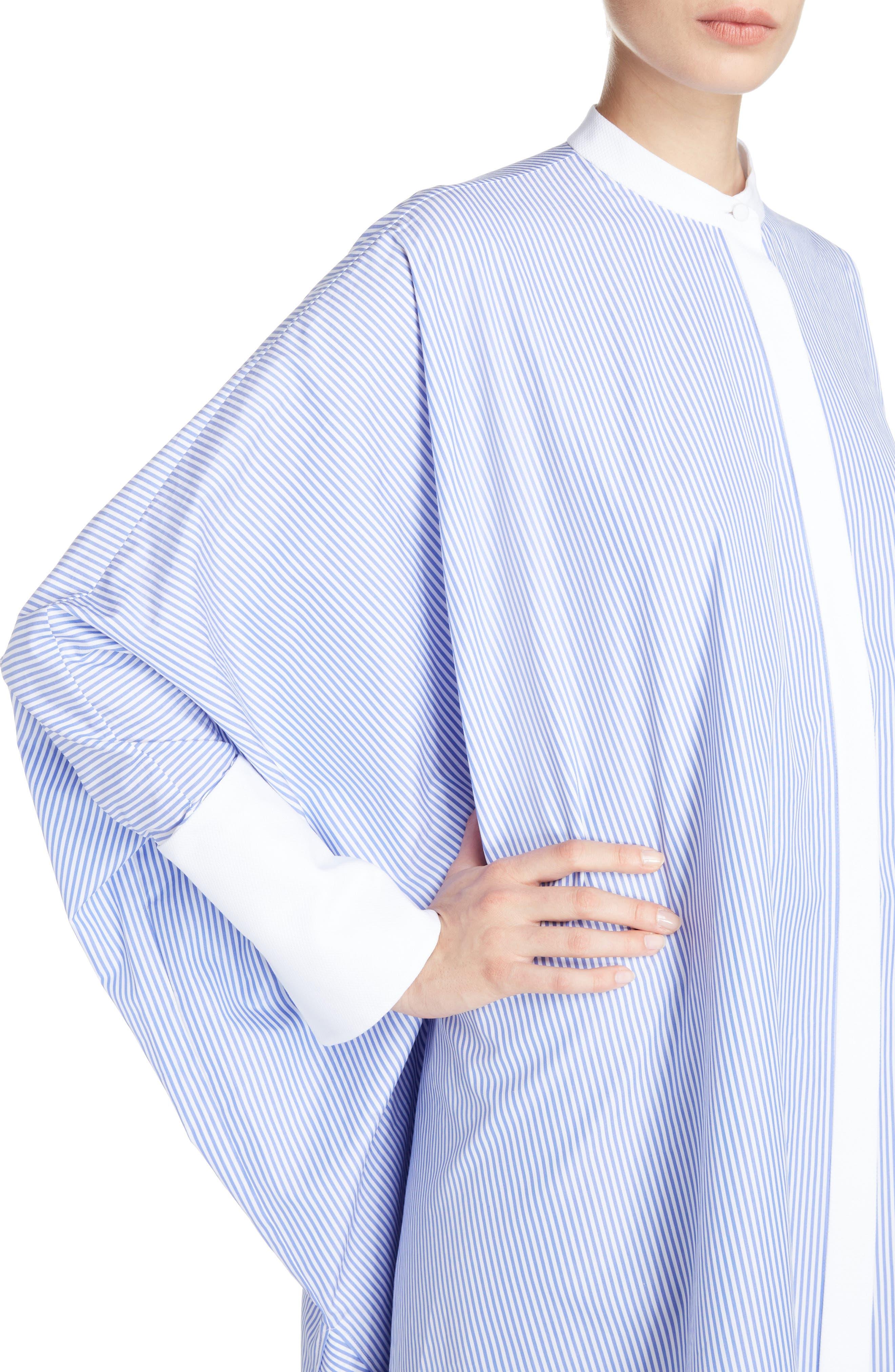Stripe Cotton Poplin Cape Top,                             Alternate thumbnail 4, color,                             White/ Bleu
