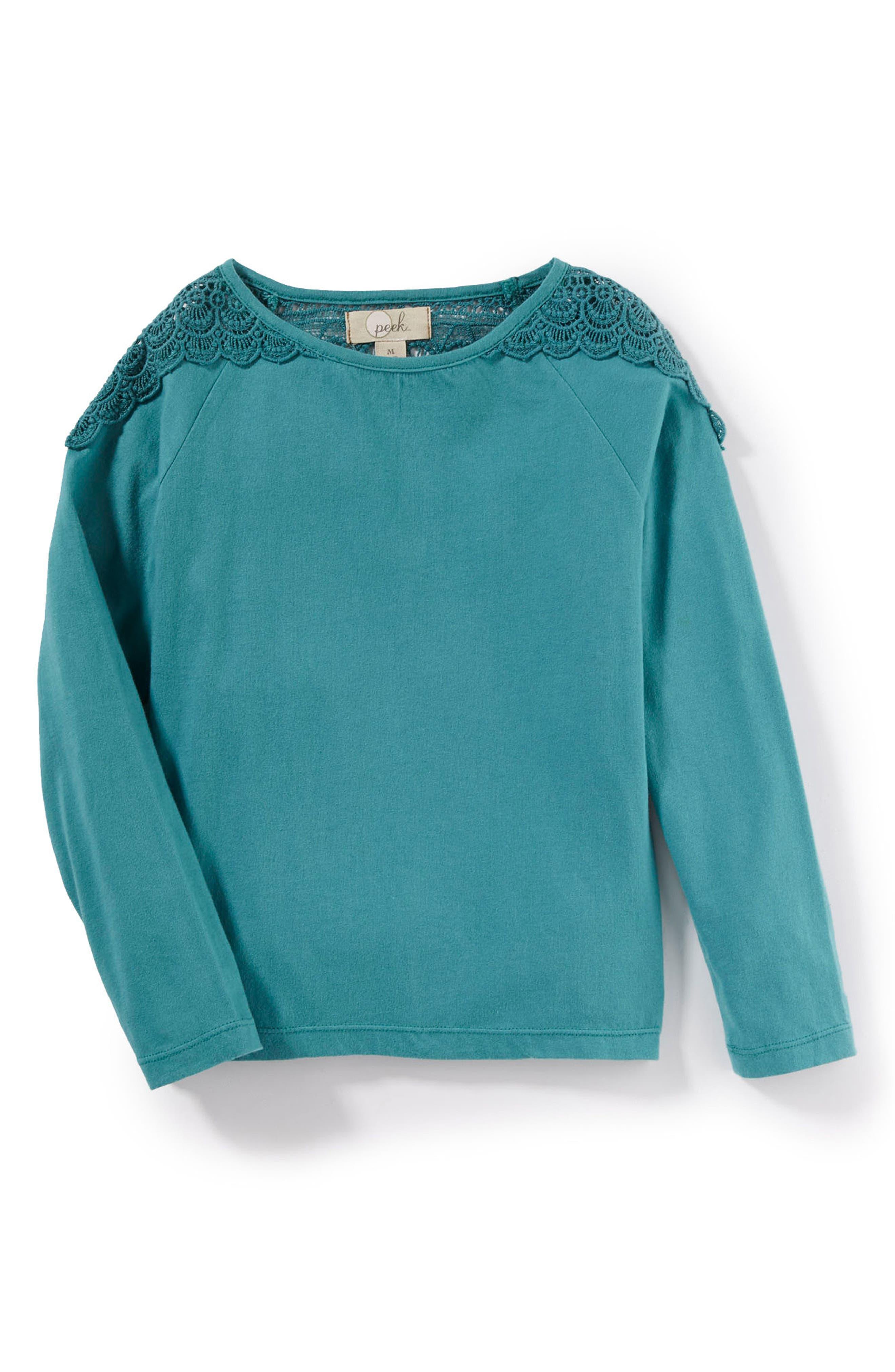 Tiffany Crochet Yoke Tee,                         Main,                         color, Green