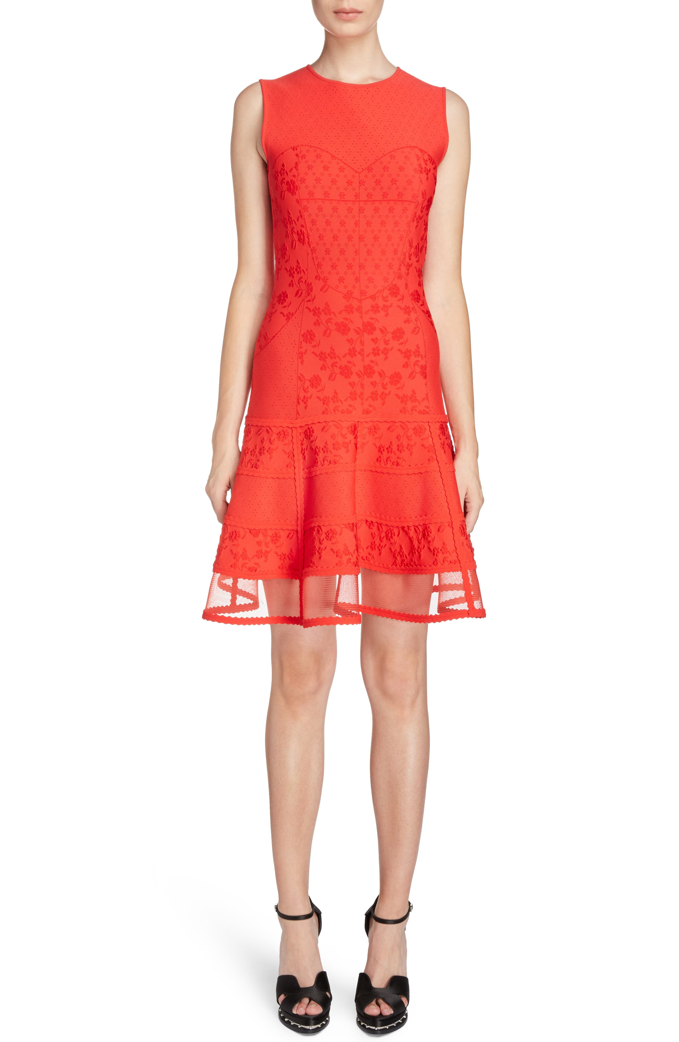 Knit Patchwork Dress,                         Main,                         color, Lust Red