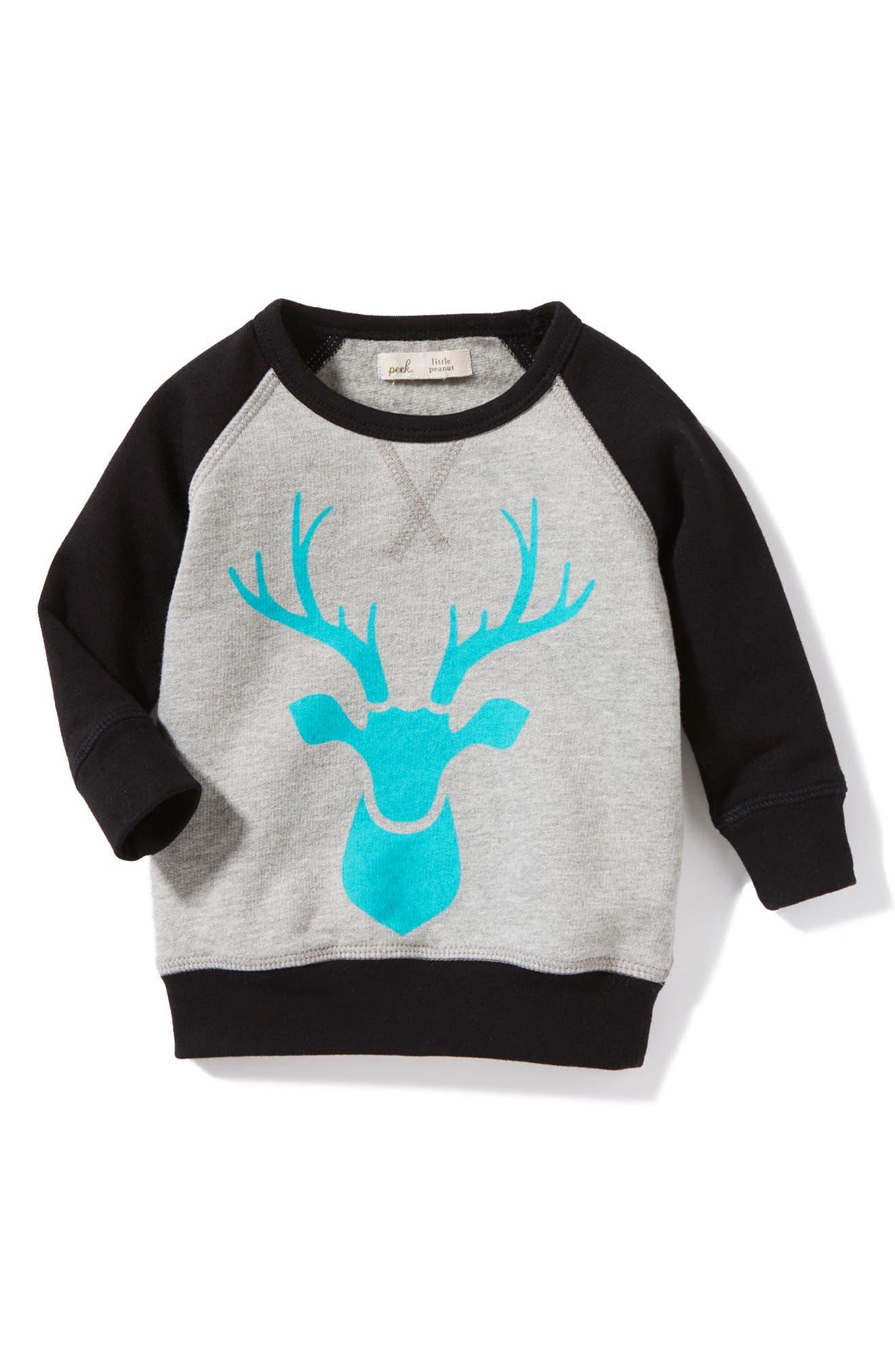 Alternate Image 1 Selected - Peek Reindeer Sweatshirt (Baby Boys)