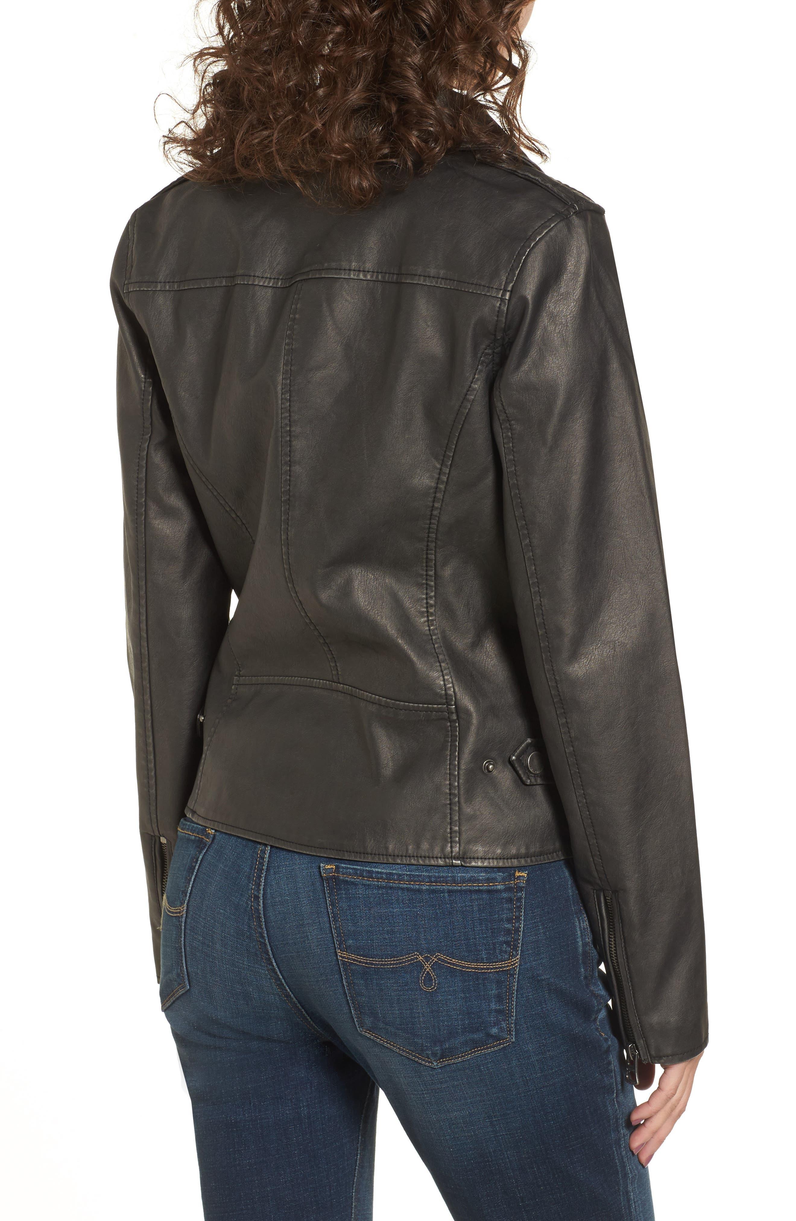 Faux Leather Jacket,                             Alternate thumbnail 2, color,                             Grey