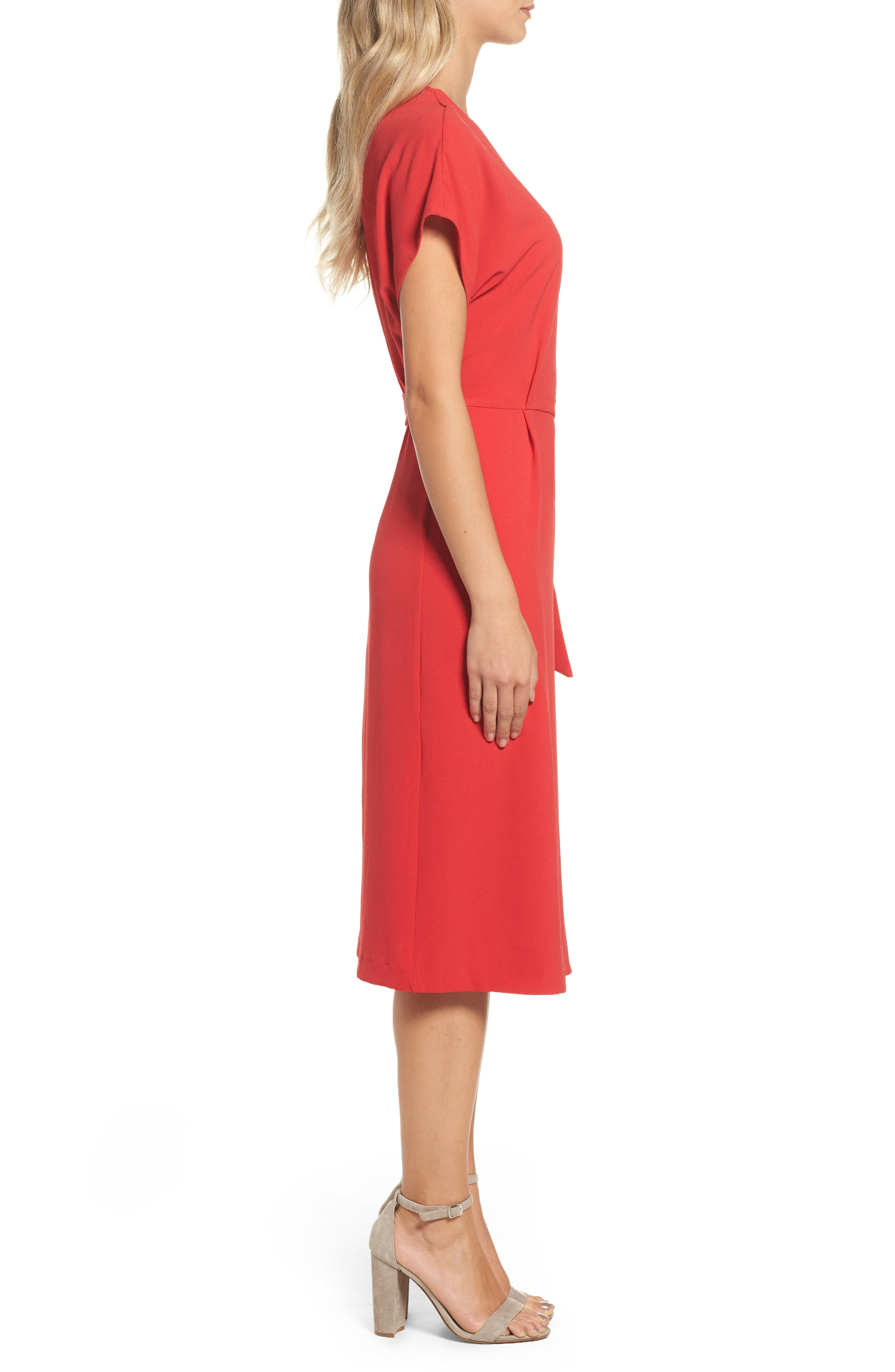 Rita Wrap Dress,                             Alternate thumbnail 3, color,                             Red
