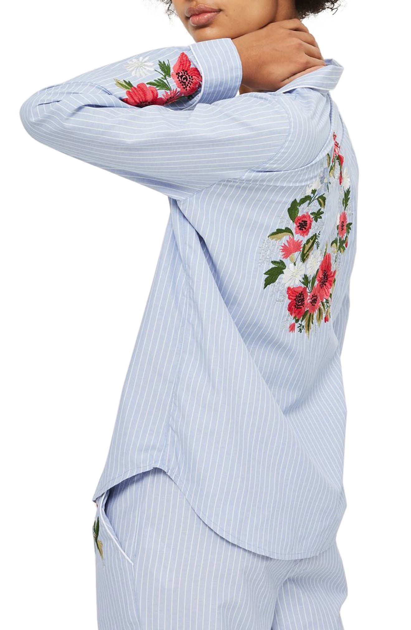 Floral Embroidered Stripe Nightshirt,                             Alternate thumbnail 2, color,                             Blue Multi