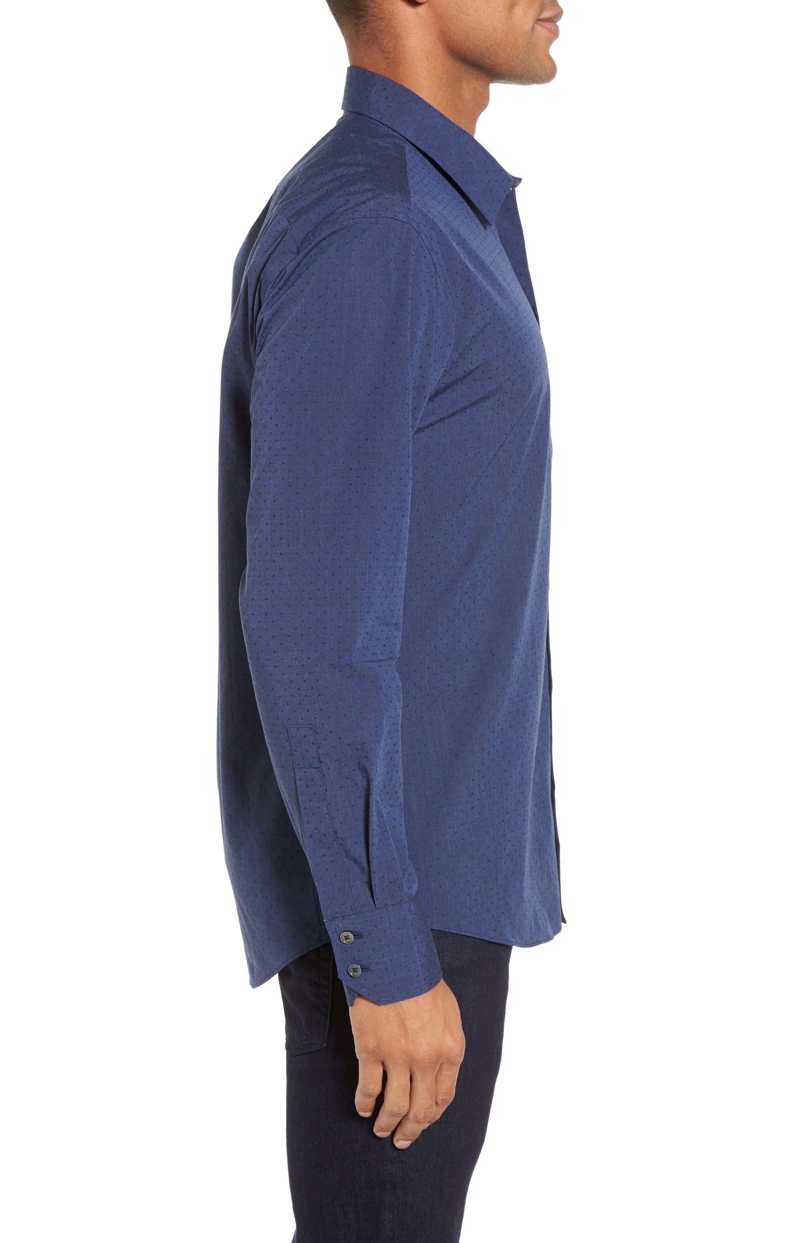Colly Slim Fit Print Sport Shirt,                             Alternate thumbnail 3, color,                             Dark Blue