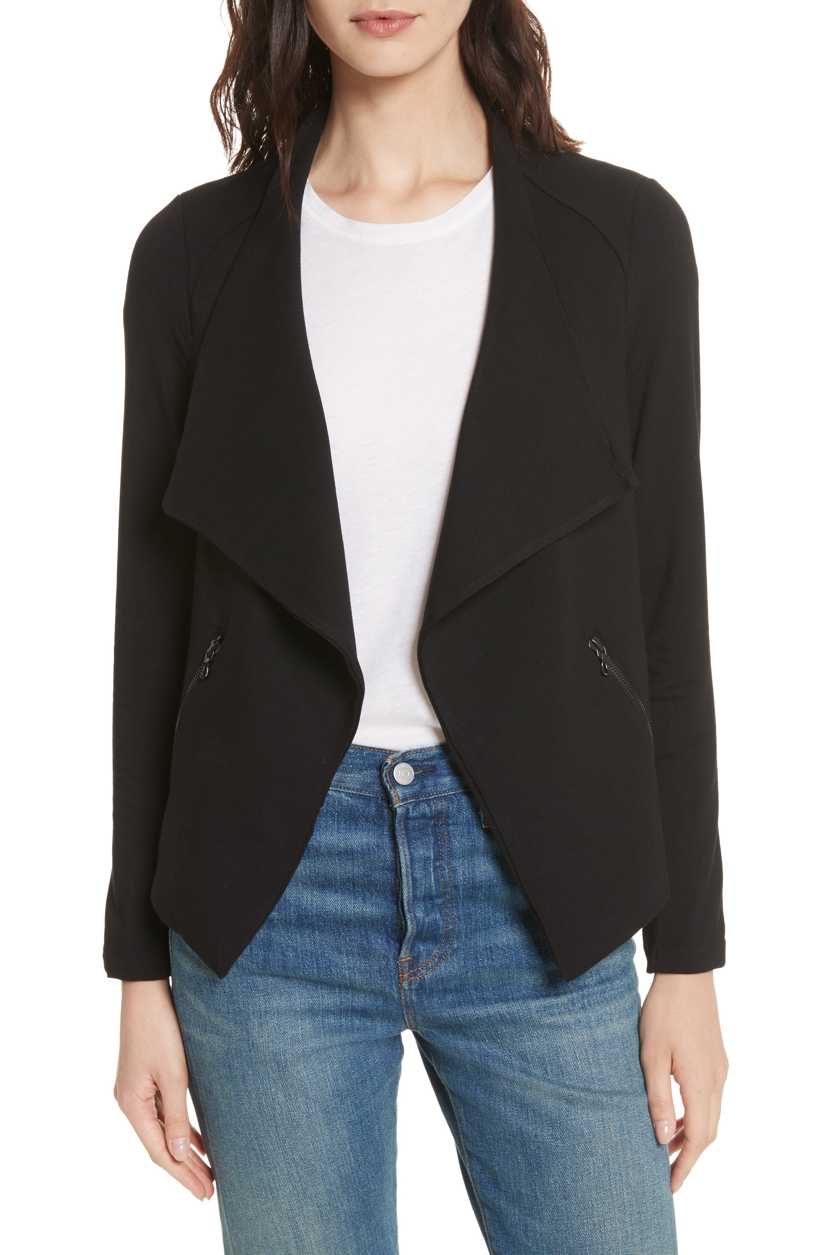 Soft Touch French Terry Moto Jacket,                             Main thumbnail 1, color,                             Noir