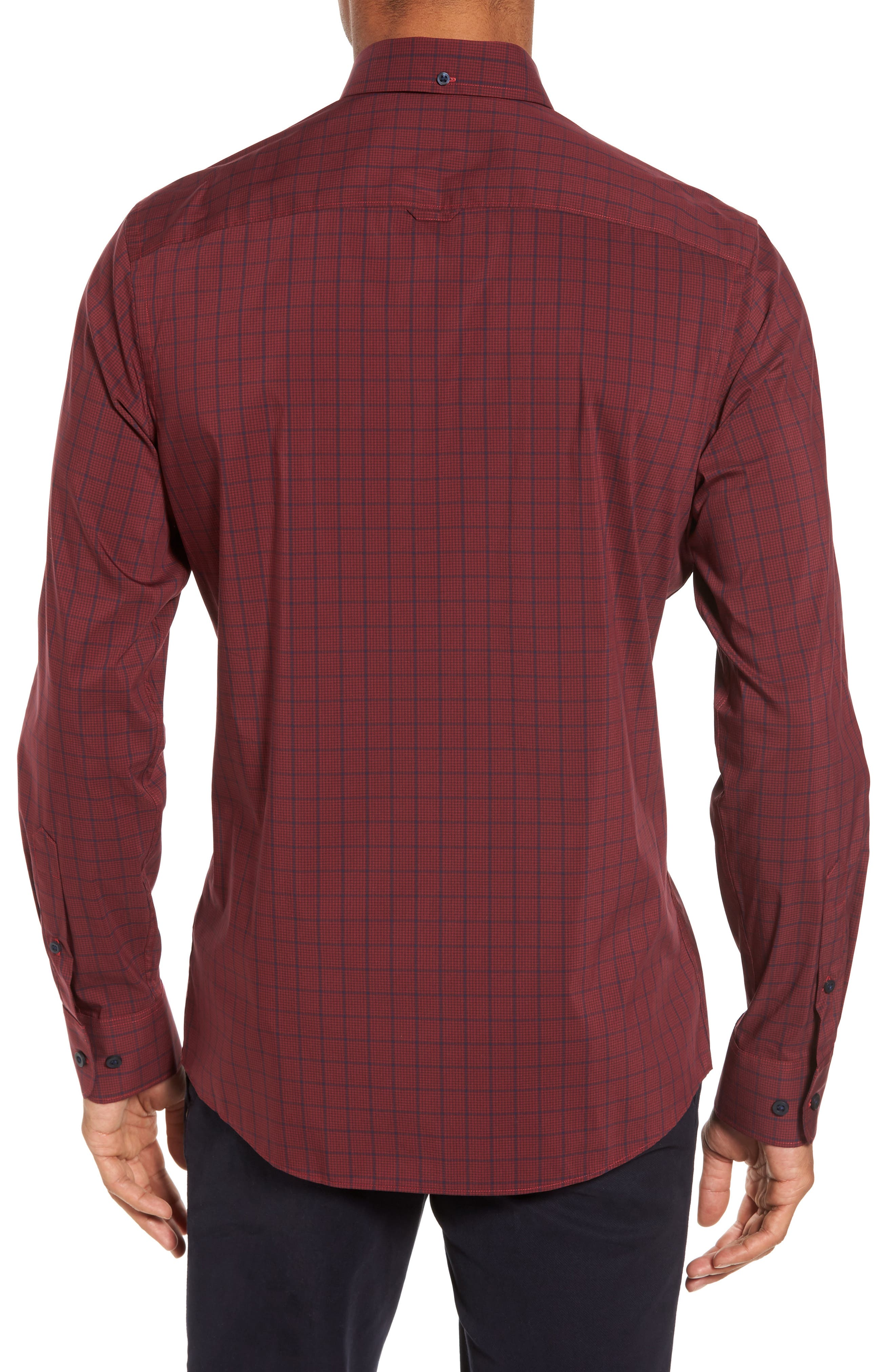 Spade Tech-Smart Plaid Sport Shirt,                             Alternate thumbnail 3, color,                             Burgundy Stem Grid Plaid