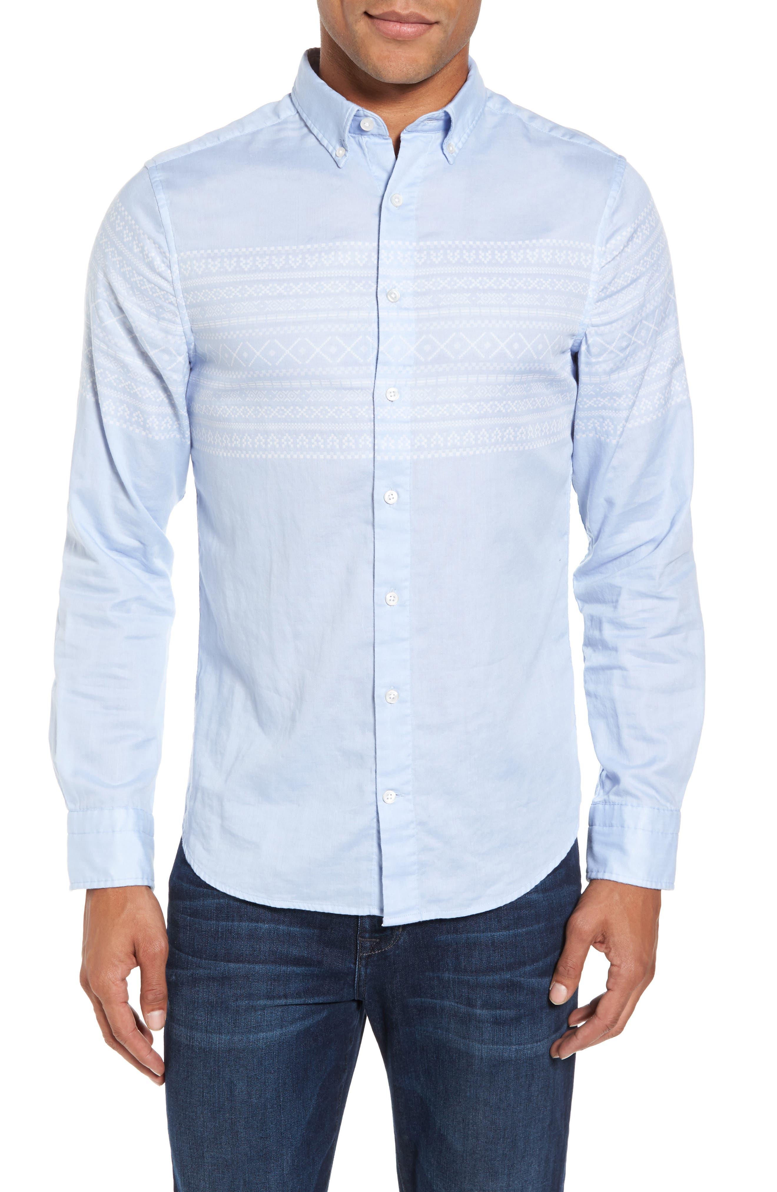 02 Extra Slim Fit Fair Isle Print Sport Shirt,                             Main thumbnail 1, color,                             Hamptons Blue