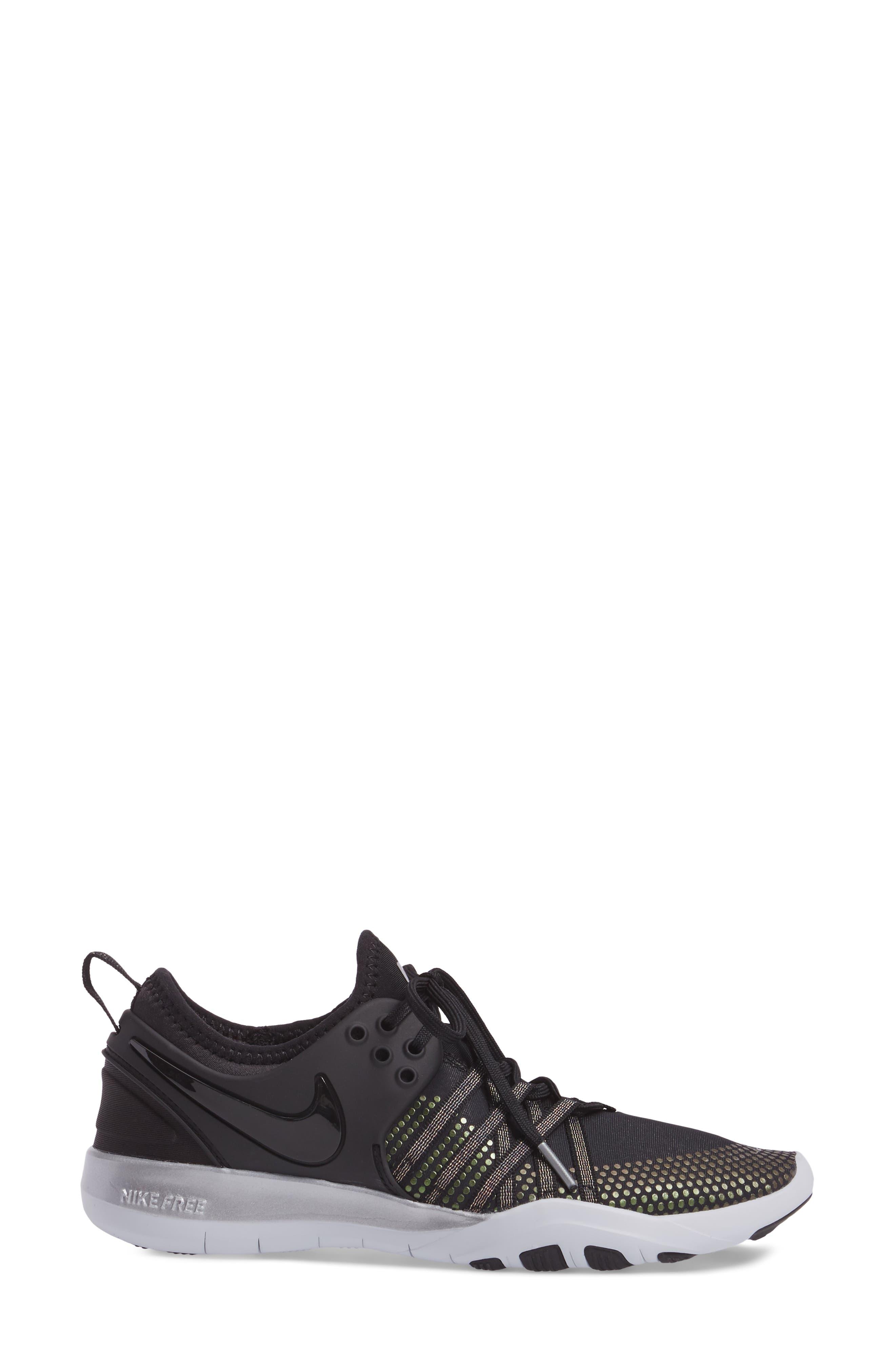 Free TR 7 Metallic Training Shoe,                             Alternate thumbnail 3, color,                             Black/ Black/ Pure Platinum