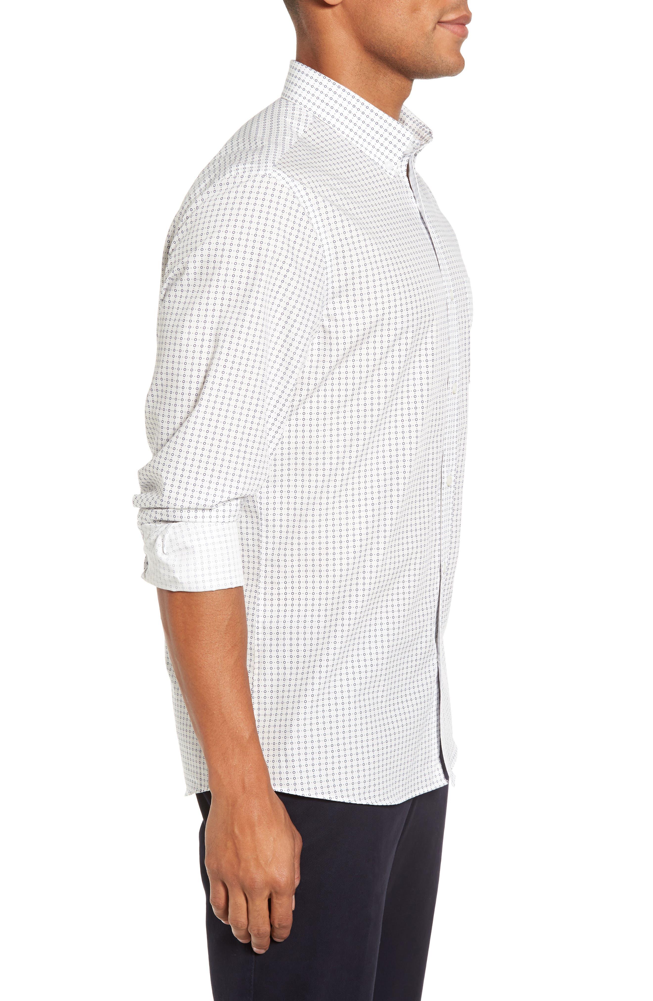 Trim Fit Non-Iron Circle Print Sport Shirt,                             Alternate thumbnail 3, color,                             Ivory Egret Circle Print