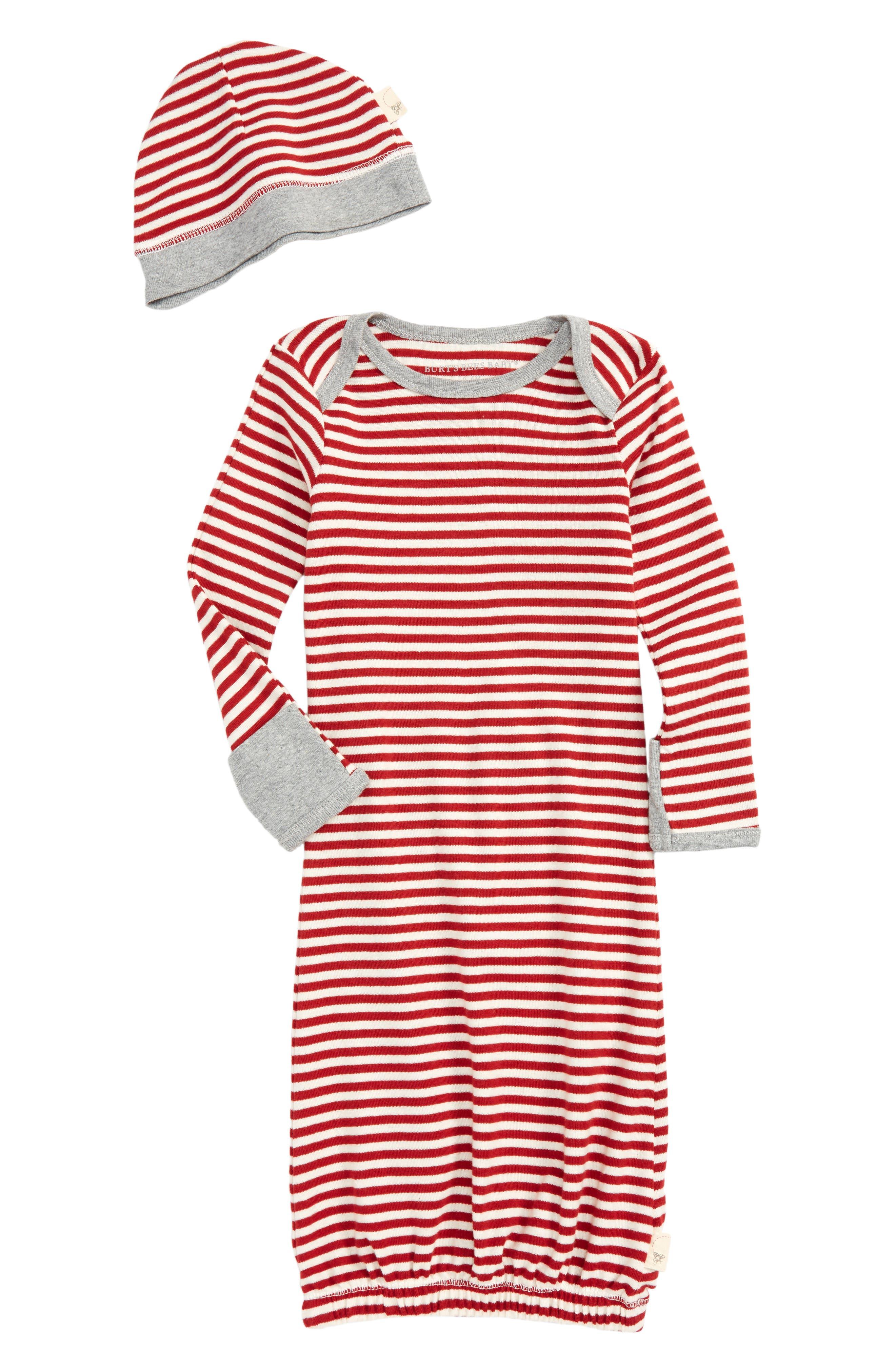 Burt's Bees Baby Stripe Organic Cotton Gown & Cap Set (Baby)
