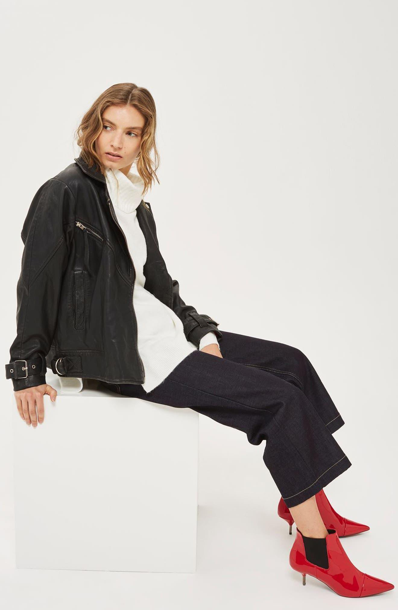 Teddy Oversize Leather Biker Jacket,                             Alternate thumbnail 2, color,                             Black