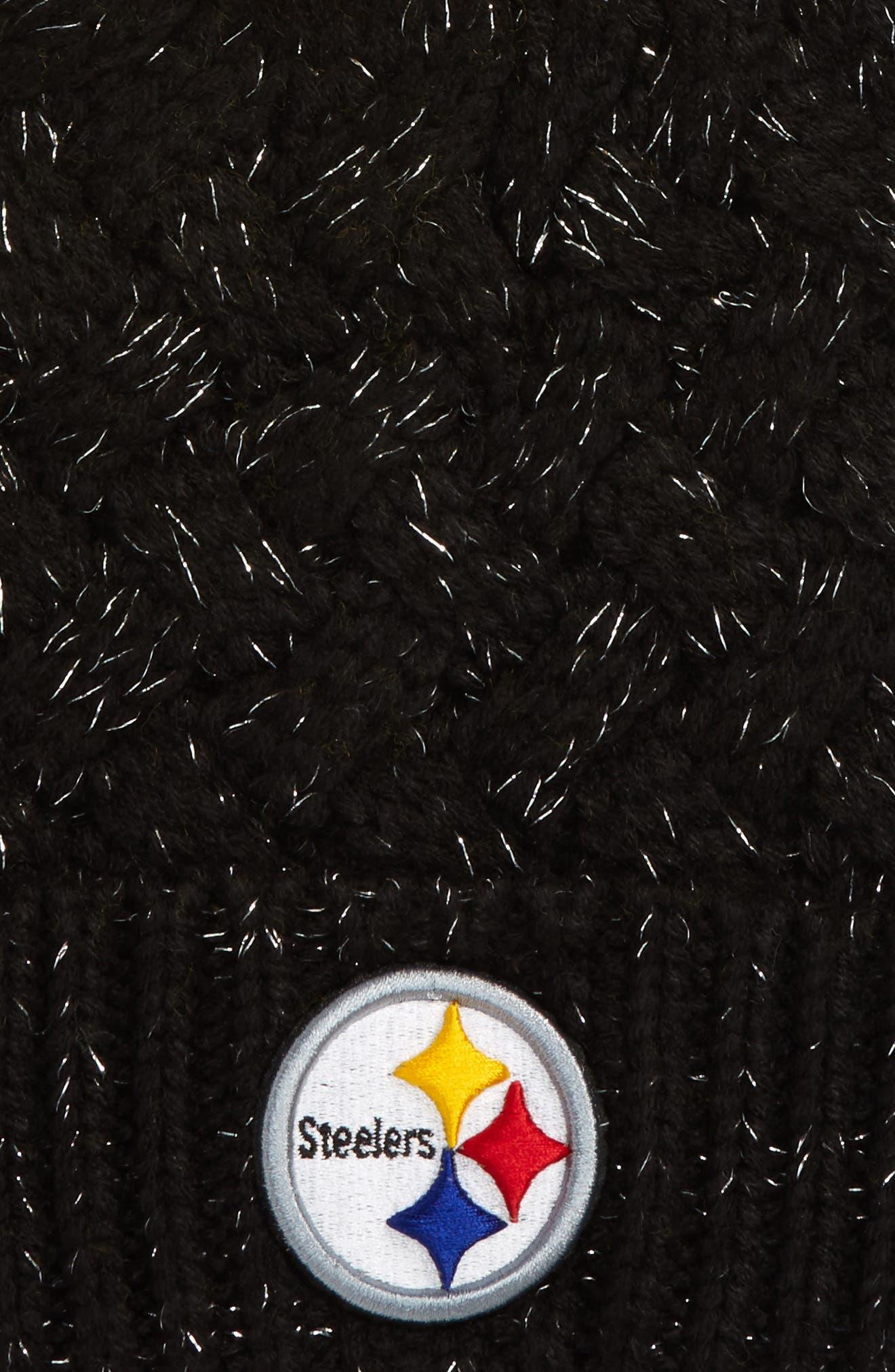 Fiona Pittsburgh Steelers Pom Beanie,                             Alternate thumbnail 2, color,                             Black