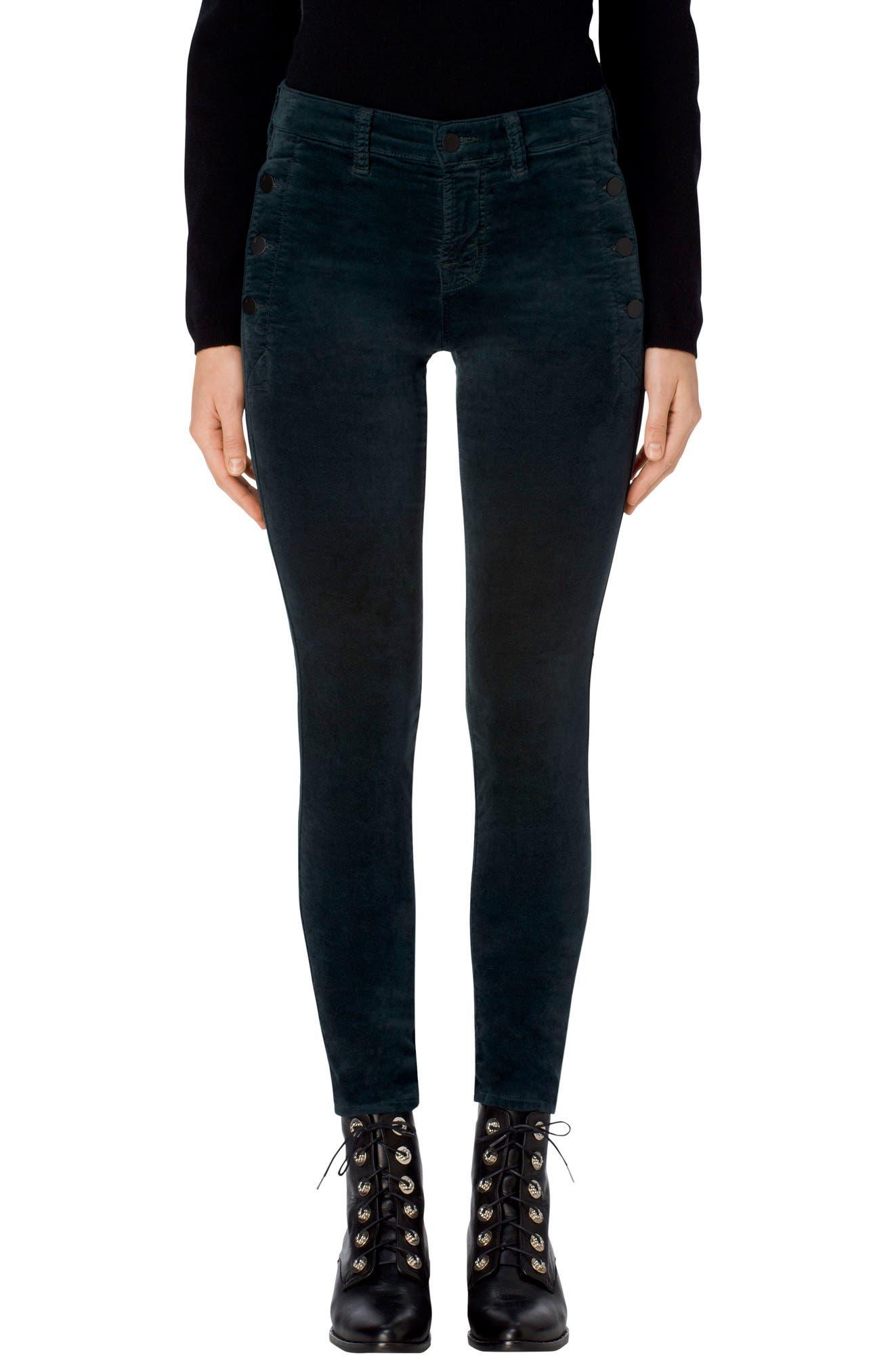 J Brand Zion Mid Rise Velvet Skinny Jeans