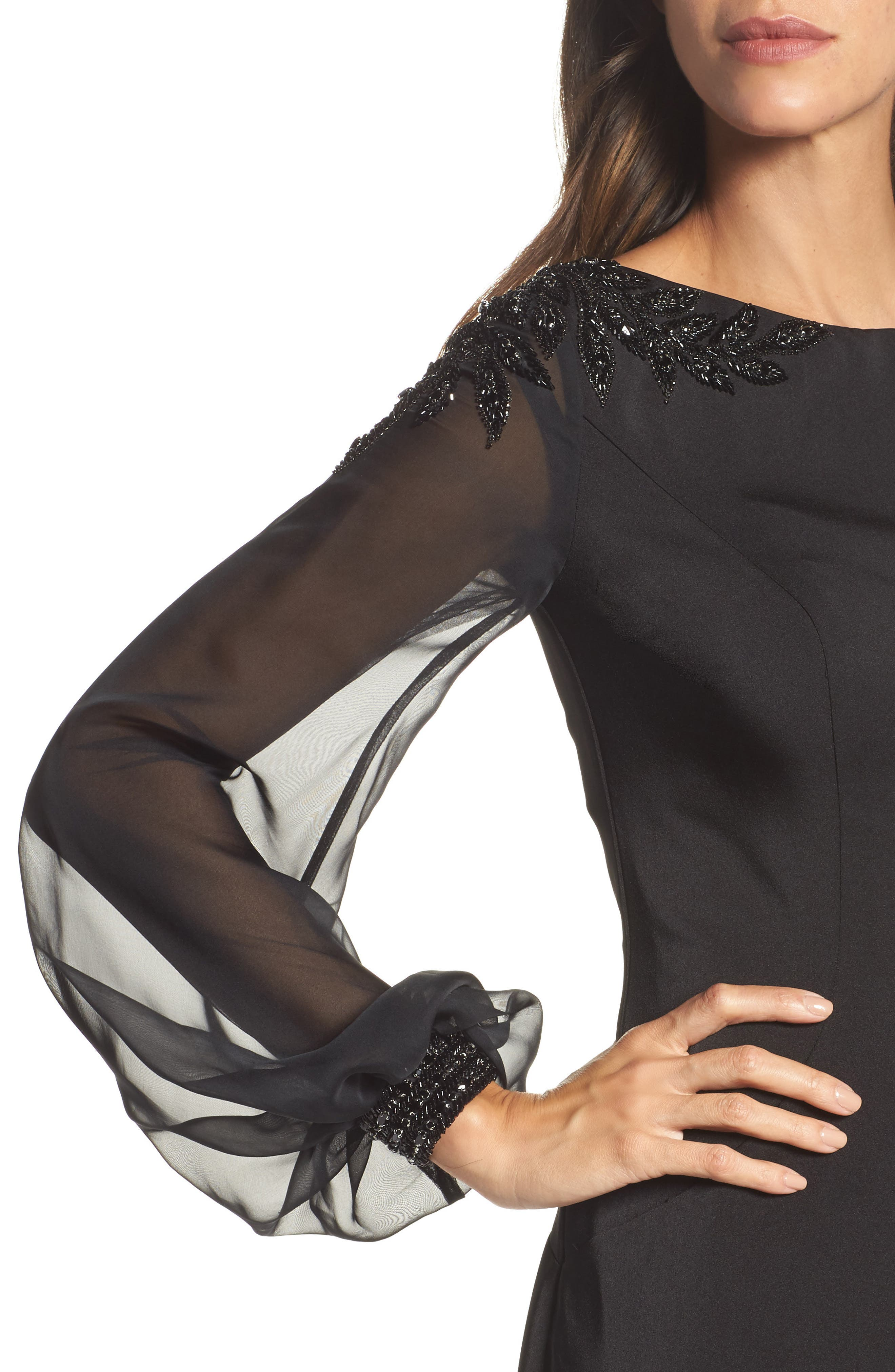 Beaded Bubble Sleeve Gown,                             Alternate thumbnail 4, color,                             Black